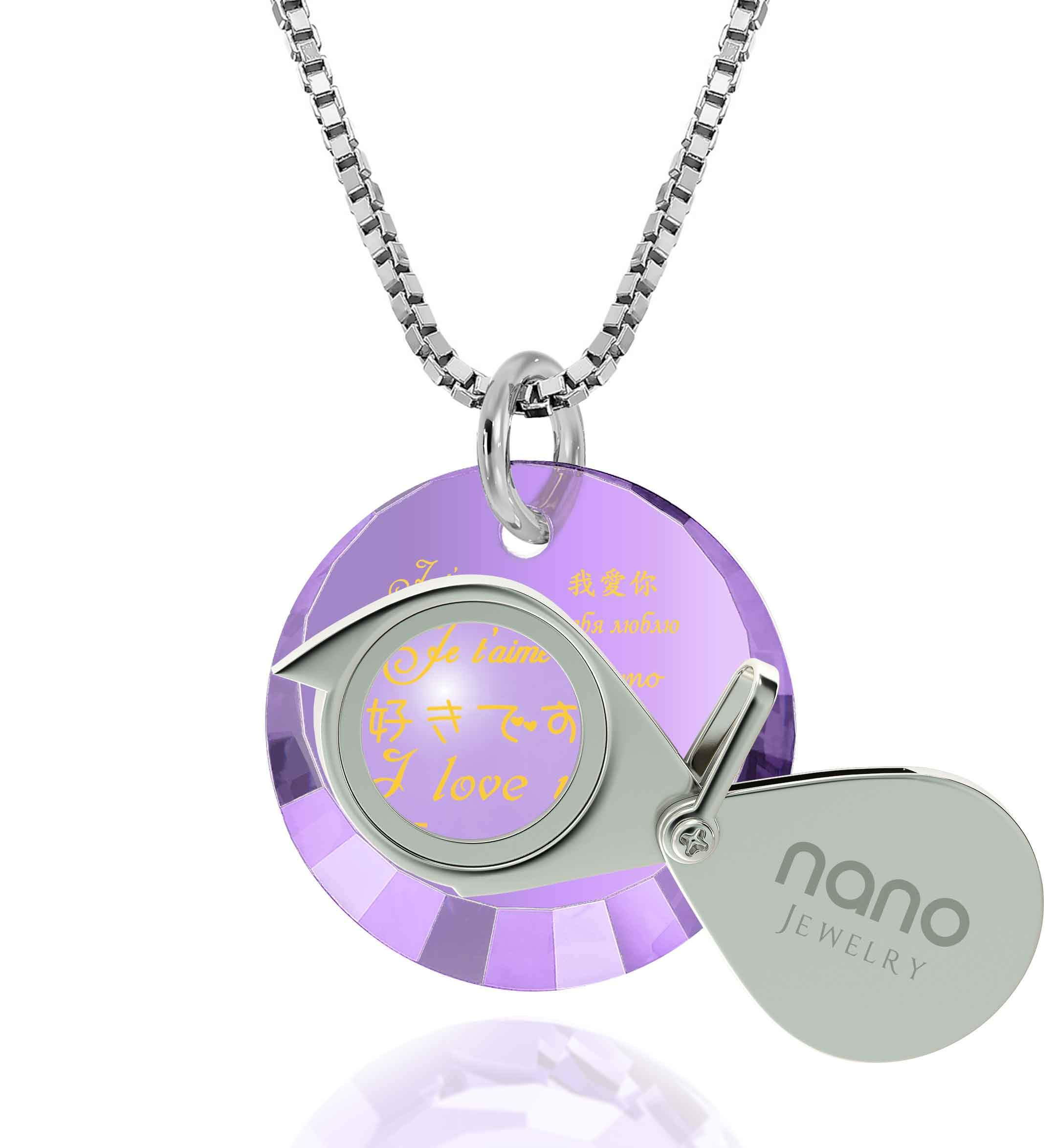 "Valentine Gifts for Girlfriend: ""I Love You"" in 12 Languages - Small Round Facets - Nano Jewelry"