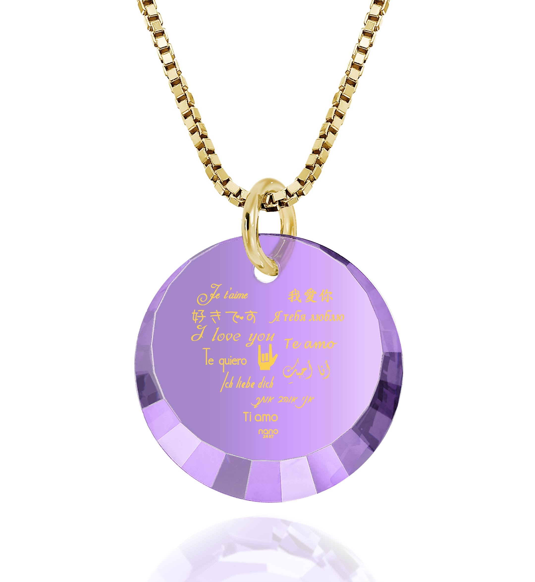 "Valentines Day Necklace for Her: ""I Love You"" in 12 Languages - Small Round Facets - Nano Jewelry"