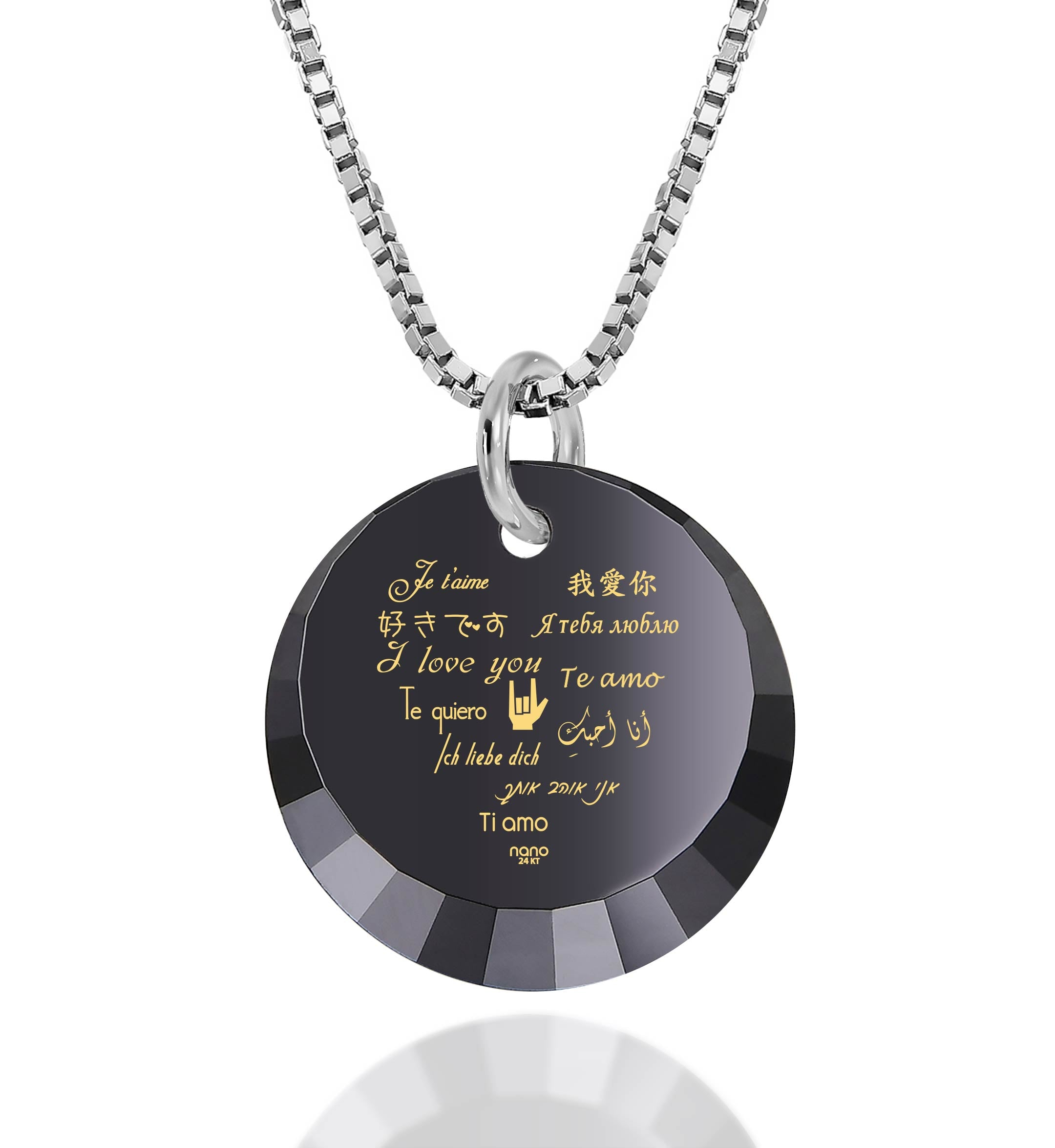 "Cute Valentines Day Gifts for Her: ""I Love You"" in 12 Languages - Small Round Facets - Nano Jewelry"