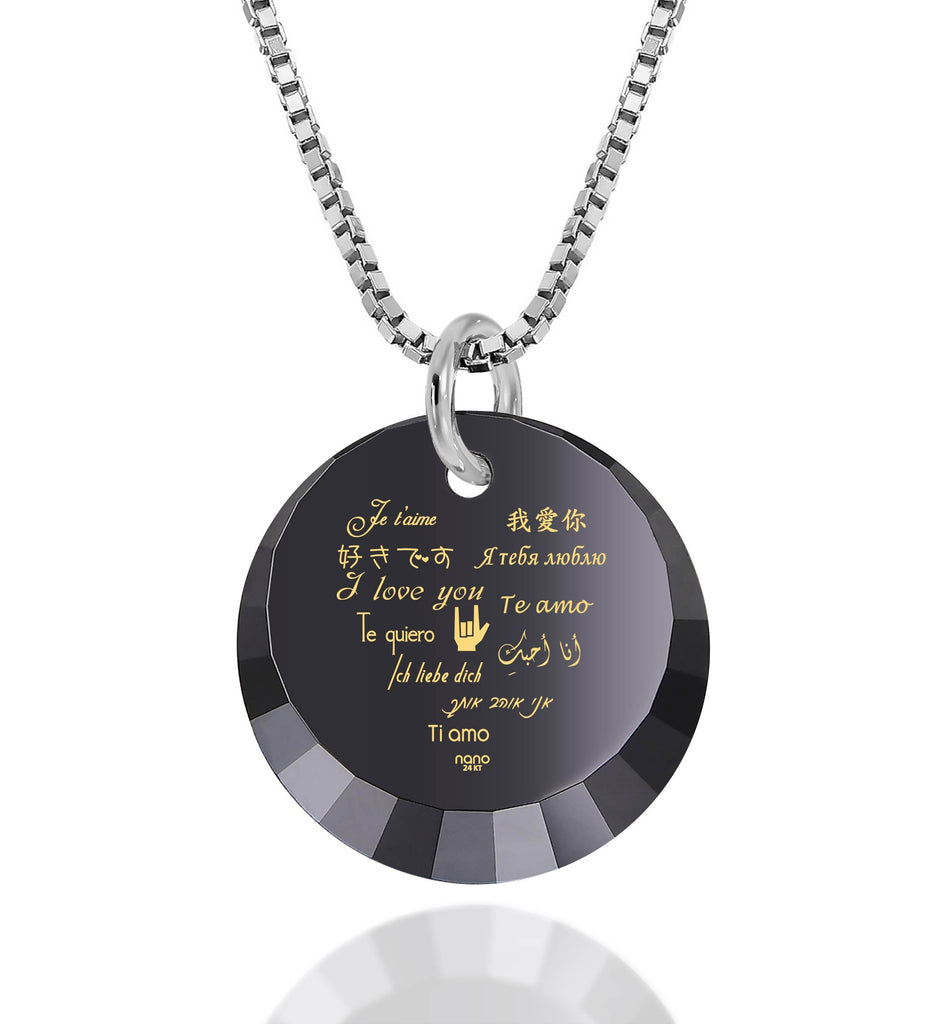 "Valentine's Day Necklaces for Girlfriend: ""I Love You"" in 12 Languages - Small Round Facets - Nano Jewelry"
