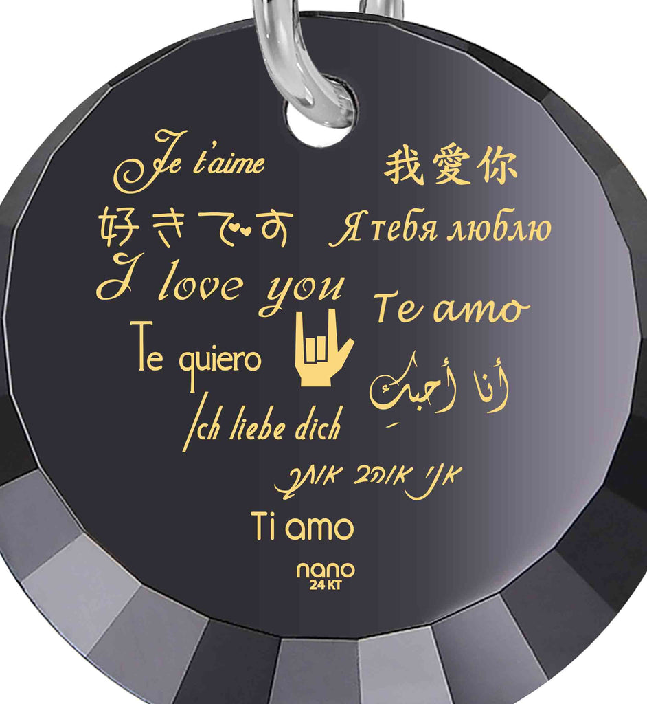 "Best Valentines Gifts for Her: ""I Love You"" in 12 Languages - Small Round Facets - Nano Jewelry"