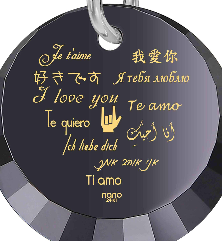 "Valentine Day Gifts for Girlfriend: ""I Love You"" in 12 Languages - Small Round Facets - Nano Jewelry"