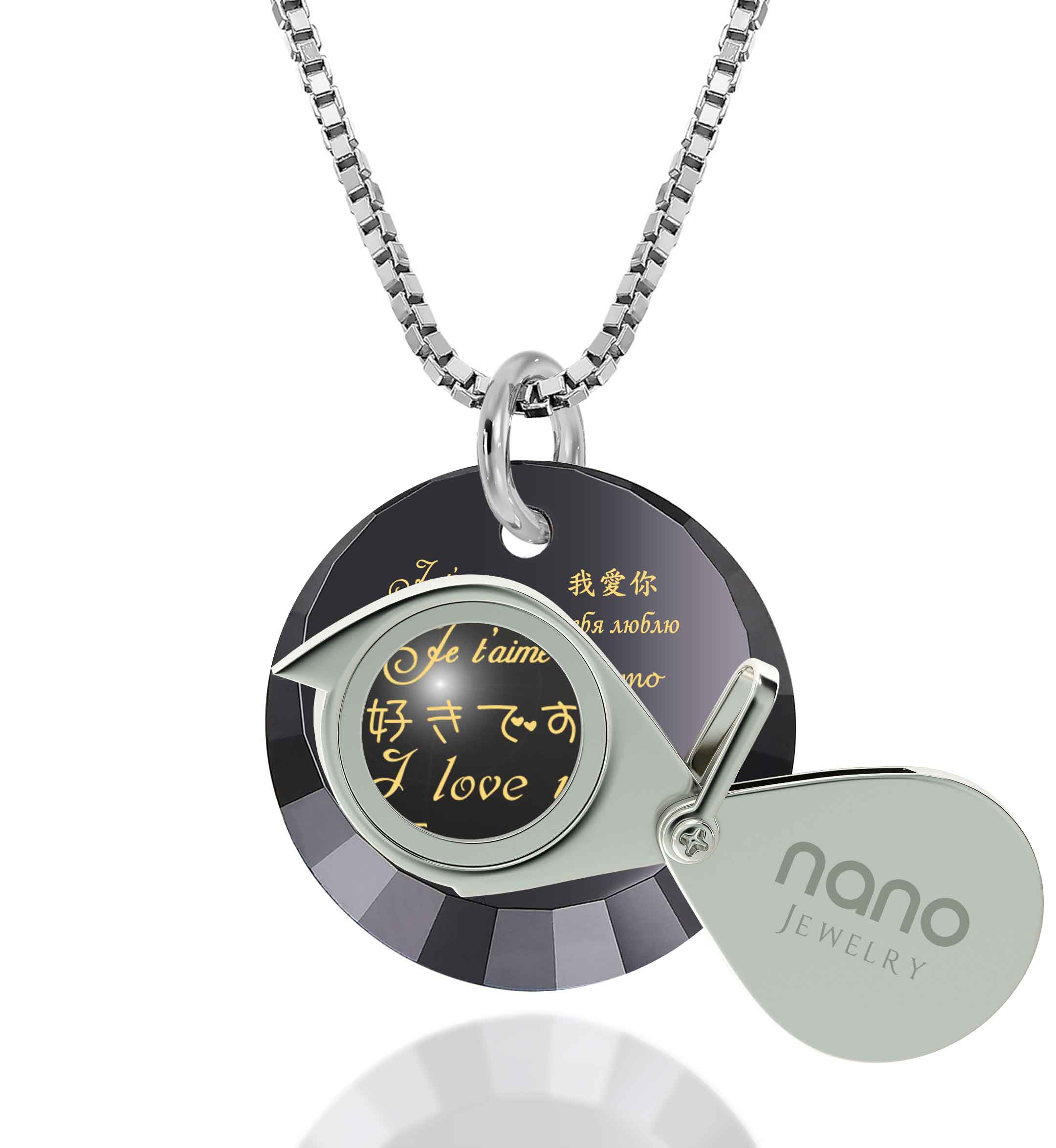 "Awesome Valentines Day Gifts for Her: ""I Love You"" in 12 Languages - Small Round Facets - Nano Jewelry"
