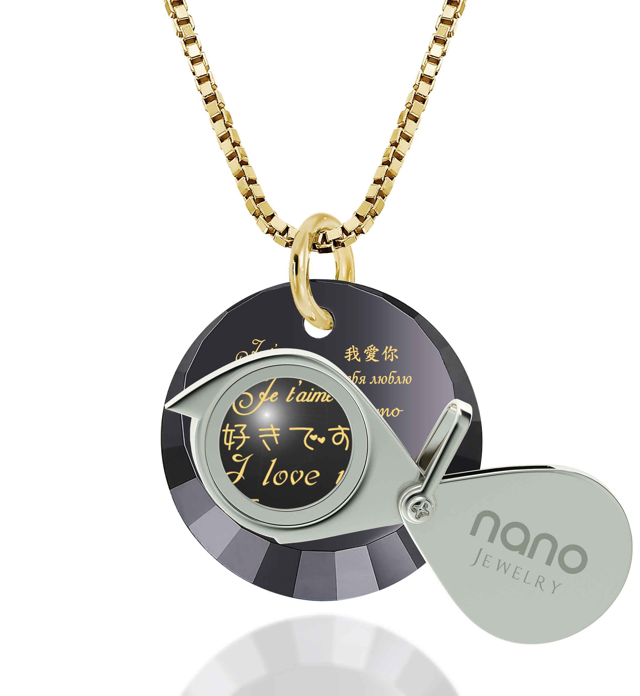 "Great Valentines Ideas for Her: ""I Love You"" in 12 Languages - Small Round Facets - Nano Jewelry"