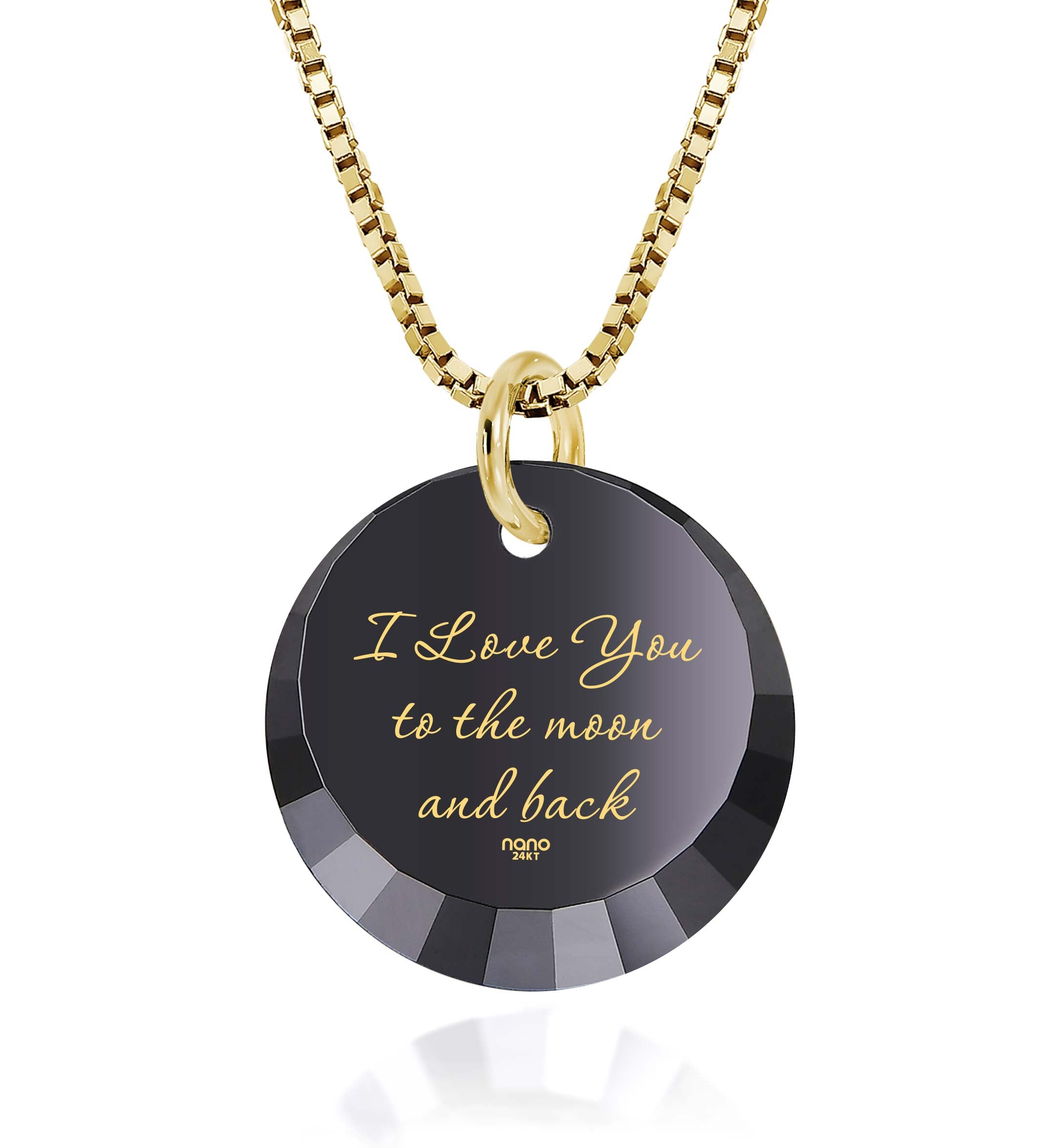 Necklace Love You To The Moon And Back: Round Special Cut - 14K Yellow Gold - Nano Jewelry