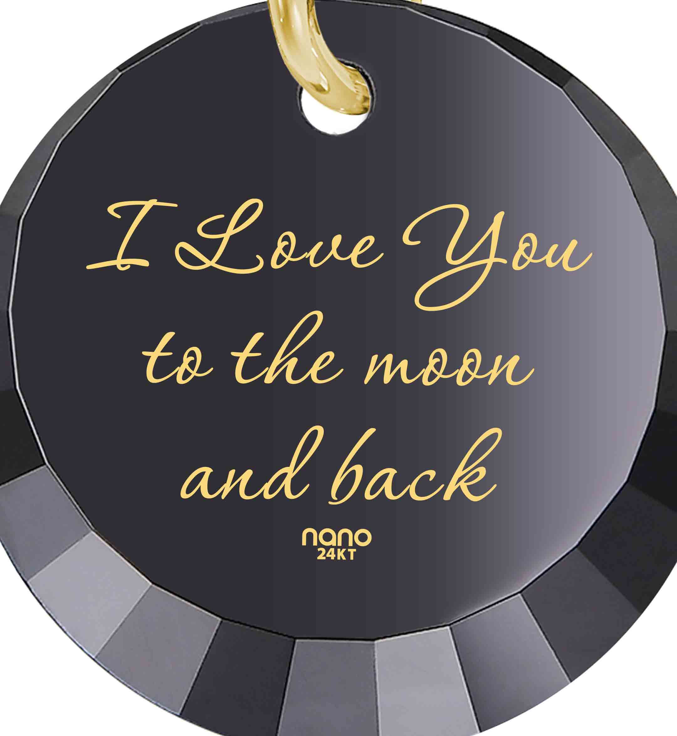 I Love You To The Moon And Back Heart Necklace: Round Special Cut - 14K Yellow Gold - Nano Jewelry
