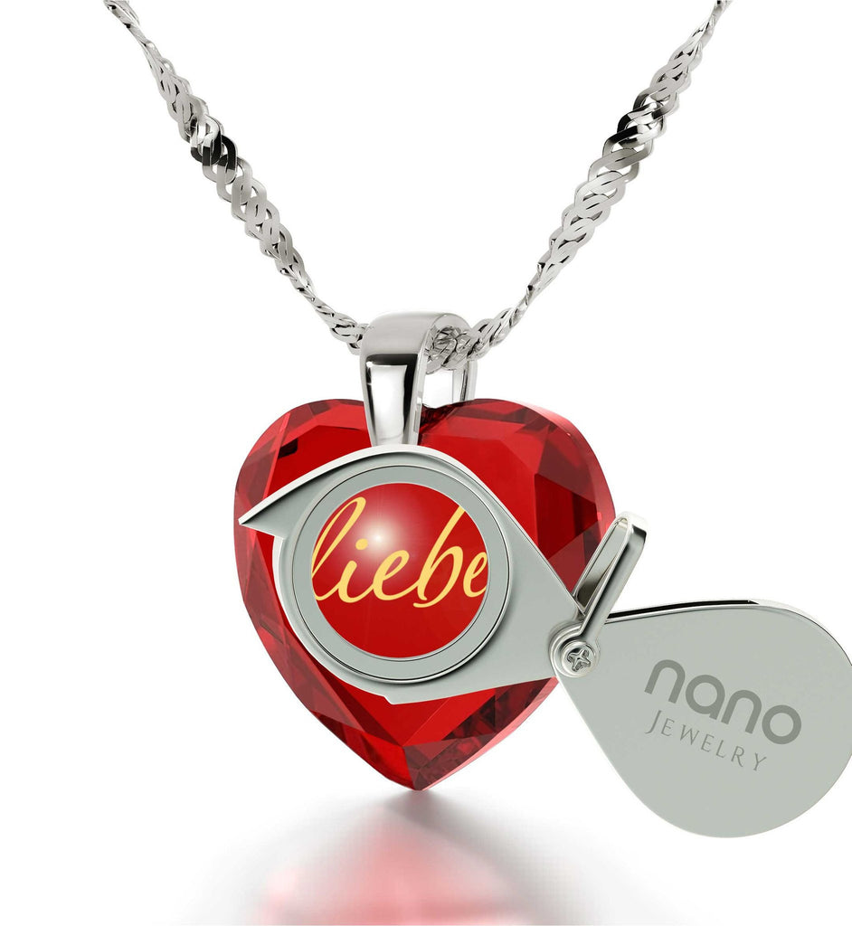 """Valentine's Ideas for Her, Dainty 14k White Gold Necklace, Best Way to Say ""I Love You""in German,Nano Jewelry"""