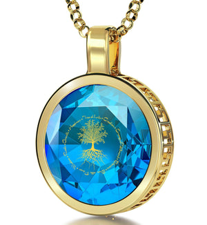 """Tree of Life"", Sterling Silver Gold Plated (Vermeil) Necklace, Zirconia"