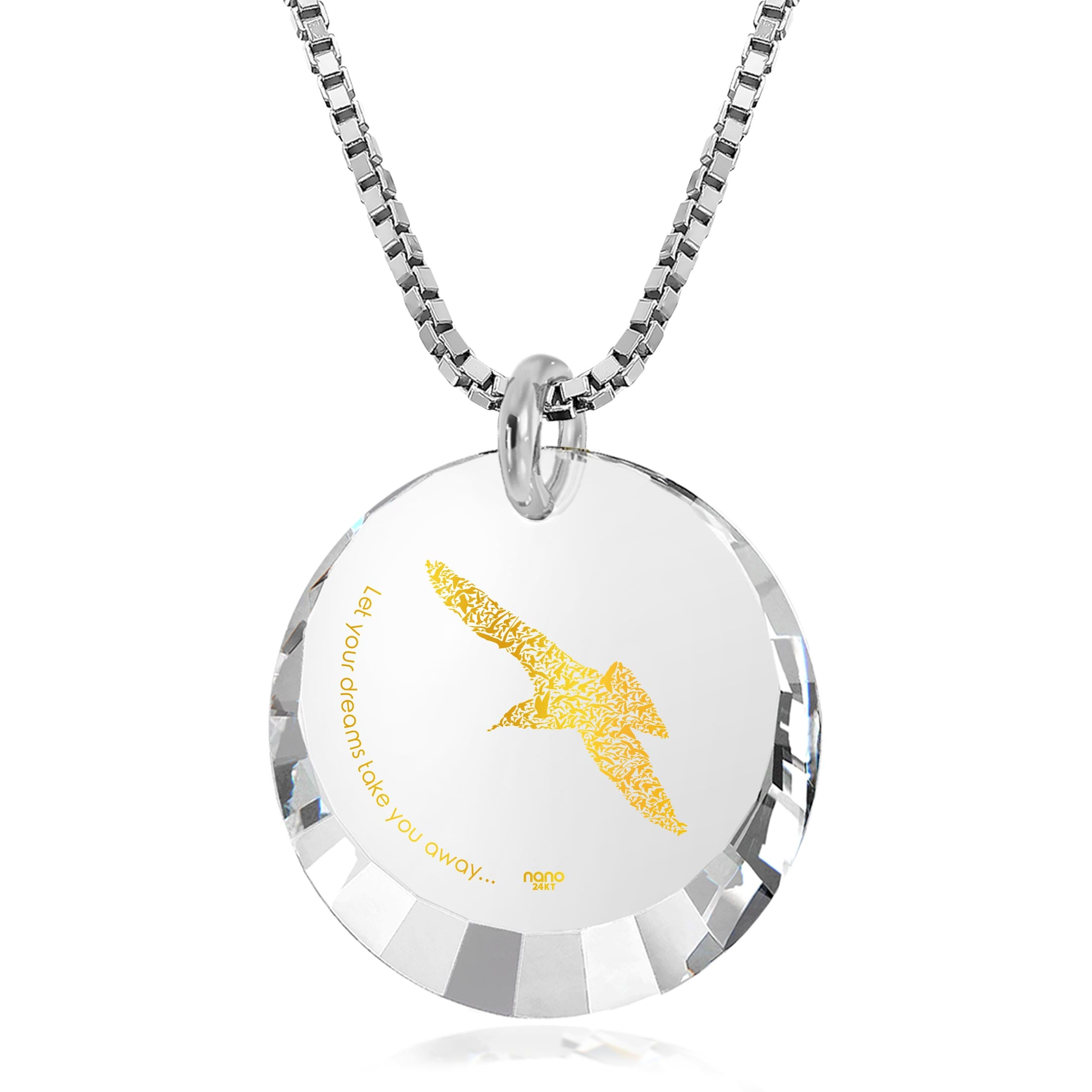 "Inspirational Graduation Gifts: ""Let Your Dreams Take You Away"" - Round Facetted CZ 12mm - 14K White Gold - Nano Jewelry"