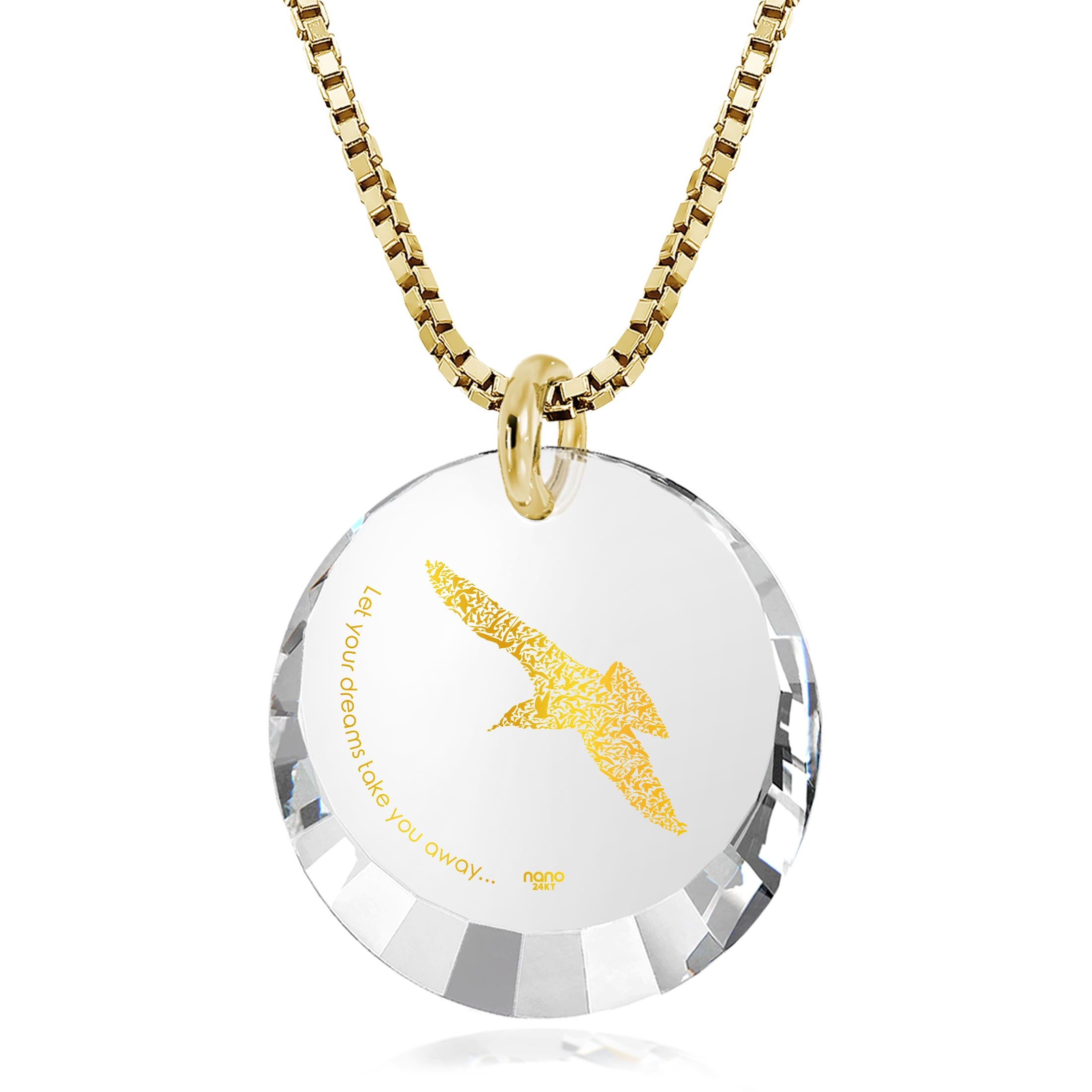 "Inspirational Jewelry For Women: ""Let Your Dreams Take You Away"" - Round Facetted CZ 12mm - 14K Gold - Nano Jewelry"