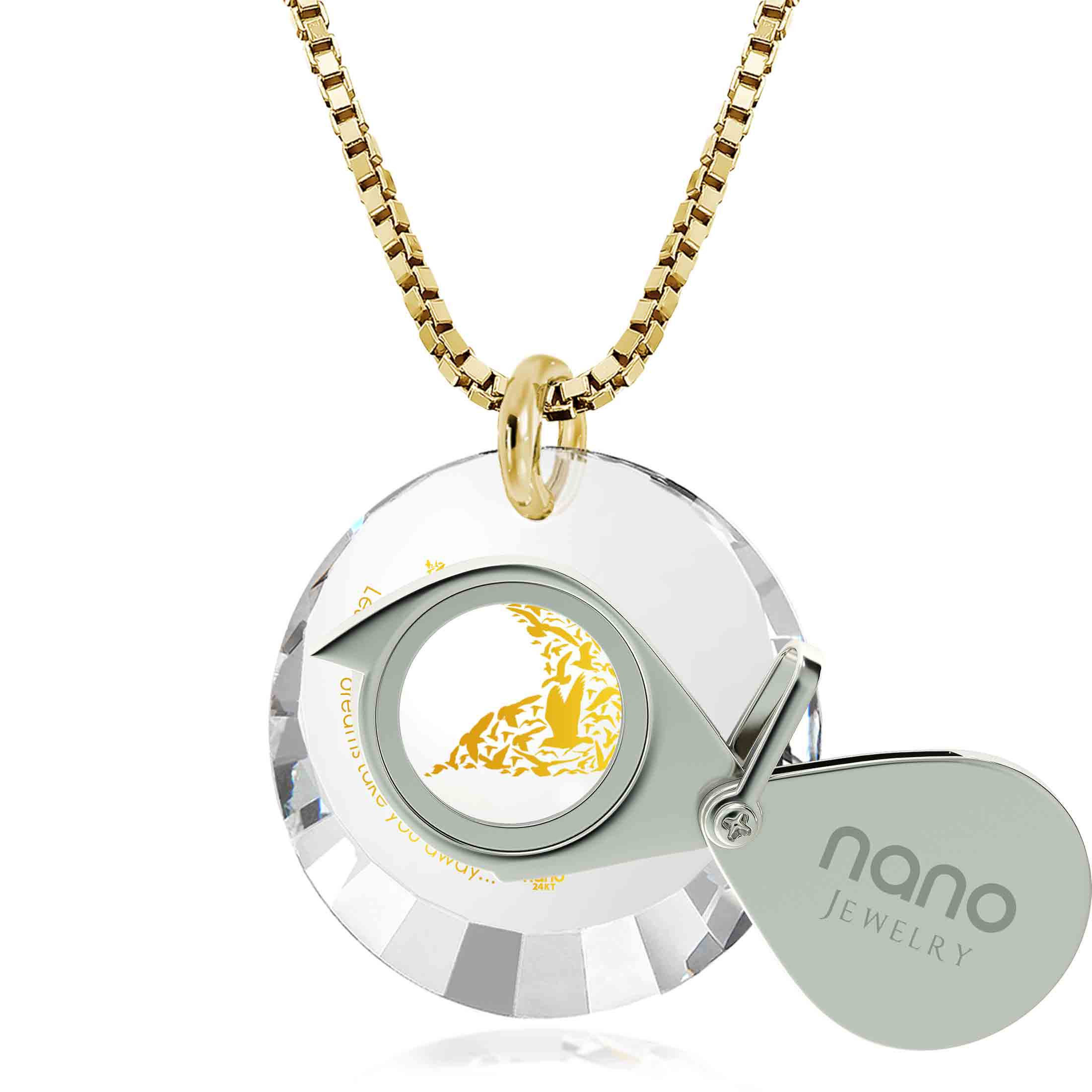 "Inspirational Necklace: ""Let Your Dreams Take You Away"" - Round Facetted CZ 12mm - 14K Gold - Nano Jewelry"