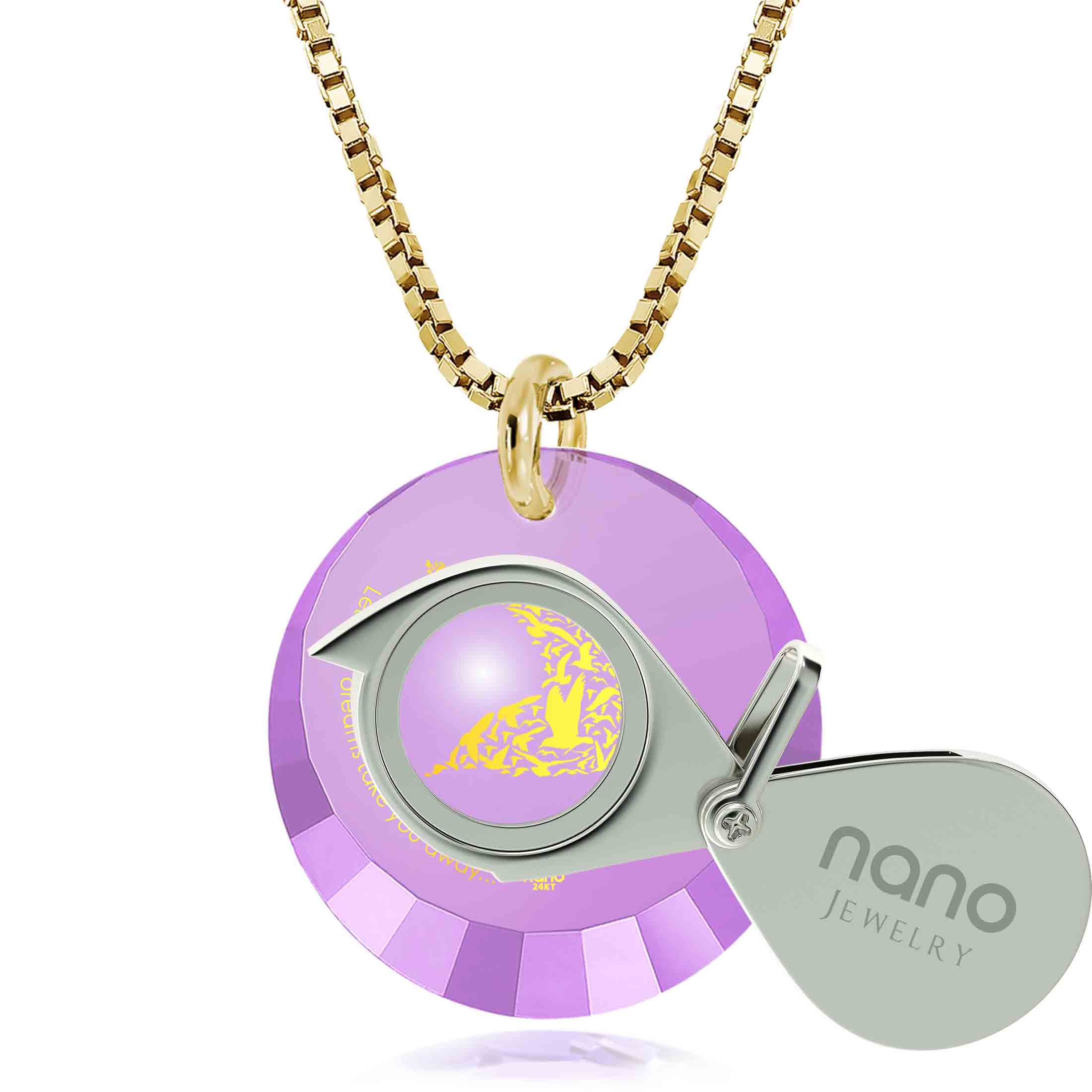 "Inspirational Pendants: ""Let Your Dreams Take You Away"" - Round Facetted CZ 12mm - 14K Gold - Nano Jewelry"