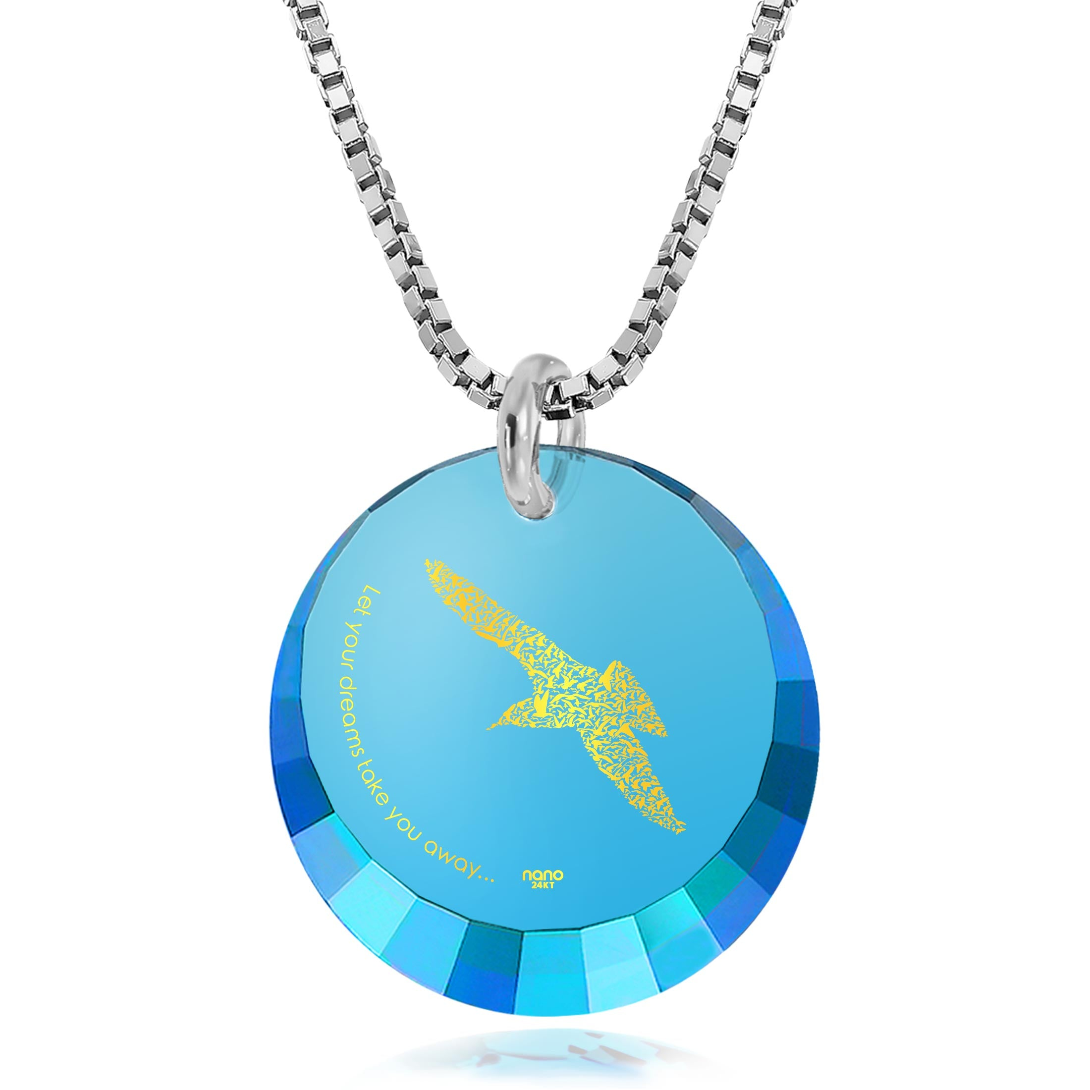 "Gift ideas for Teens, Bird Pendant Engraved with ""Let Your Dreams Take You Away"", Gift ideas for Teens, Nano Jewelry"