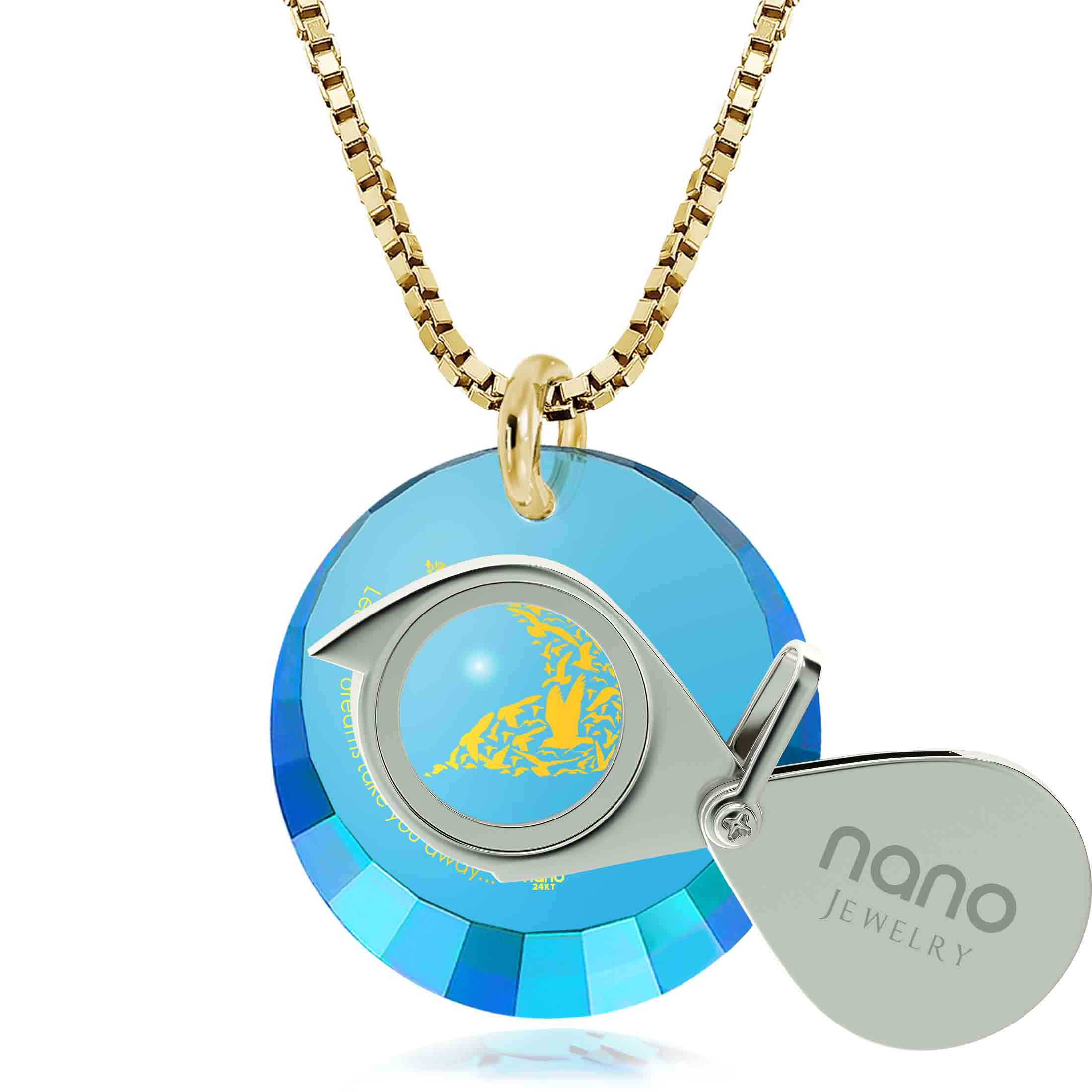 "college graduation gifts for granddaughter: ""Let Your Dreams Take You Away"" - Round Facetted CZ 12mm - Silver Gold Plated - Nano Jewelry"