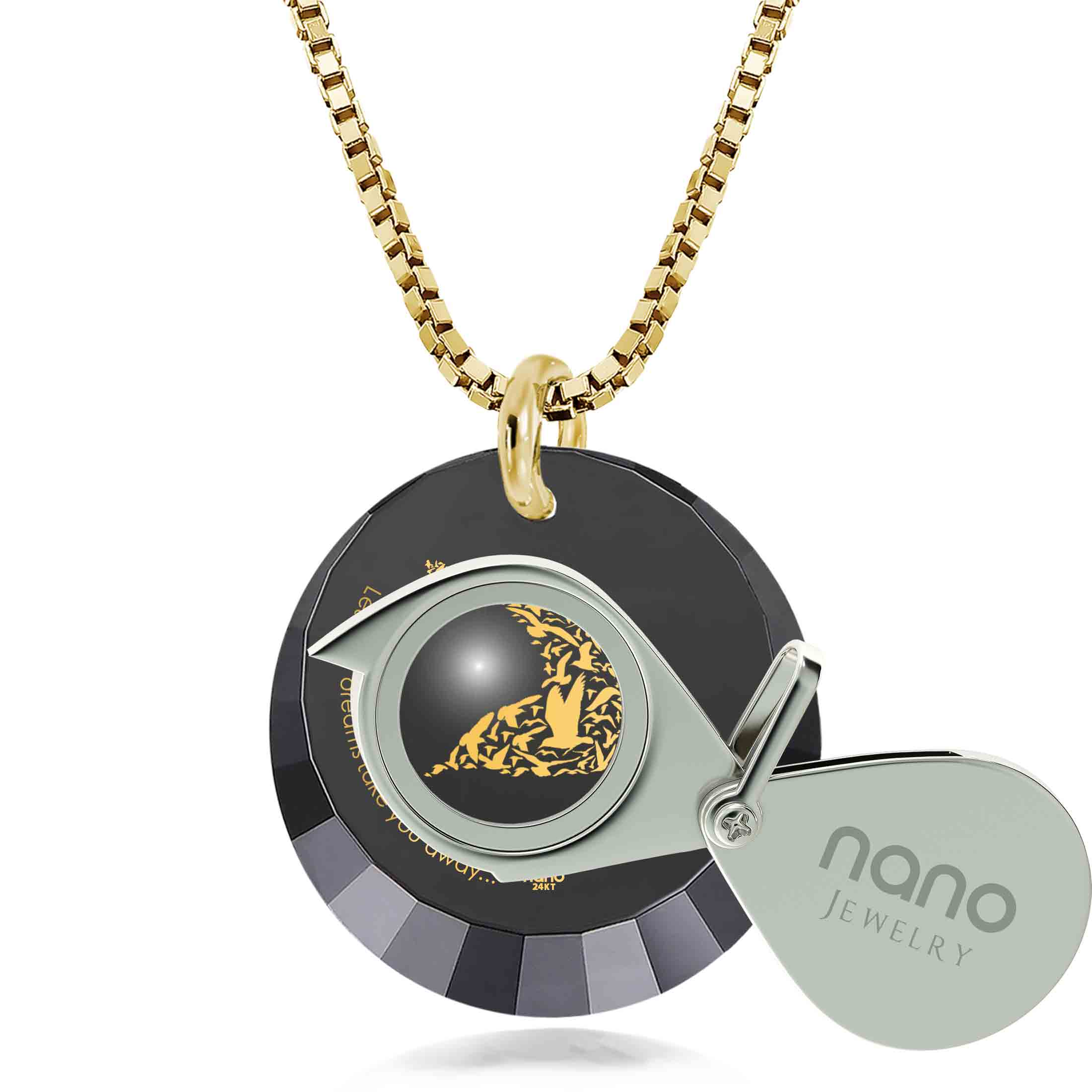 "best friend graduation gifts: ""Let Your Dreams Take You Away"" - Round Facetted CZ 12mm - Silver Gold Plated - Nano Jewelry"