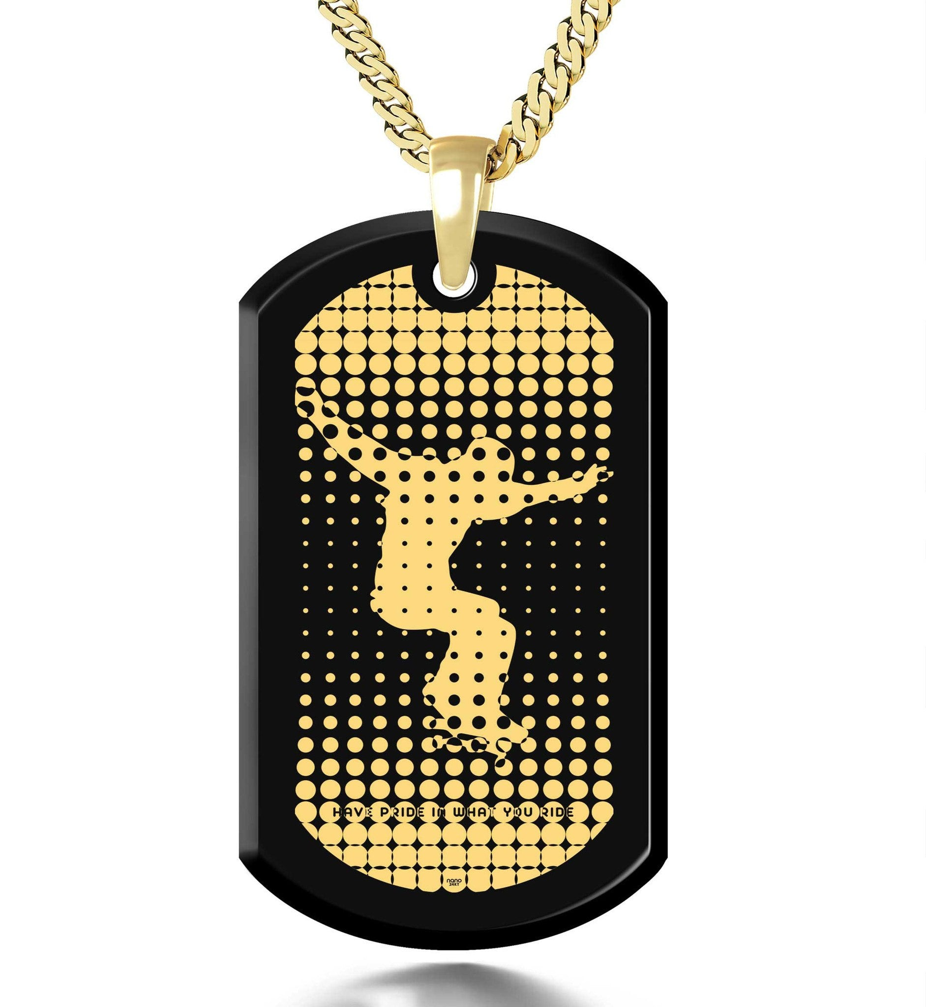 """Have Pride in What you Ride"", 3 Microns Gold Plated Necklace, Onyx"