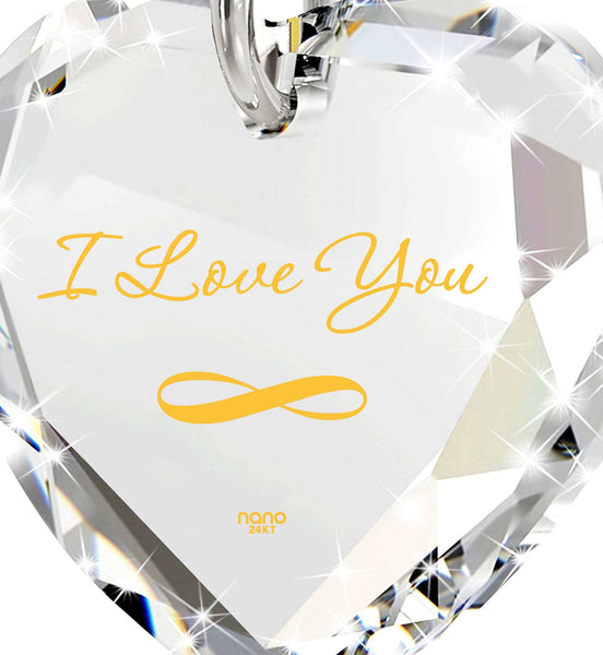 """I Love You Infinity"" in 24k Gold, Cute Necklaces for Her,Womens Birthday Gifts, Nano Jewelry"