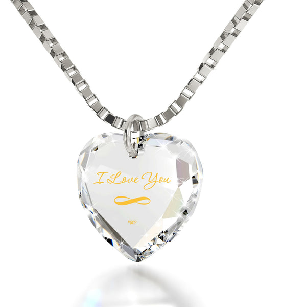 """I Love You Infinty"" Imprint, Top Gifts for Wife, Pure Romance Products, 14kWhite Gold Necklace"