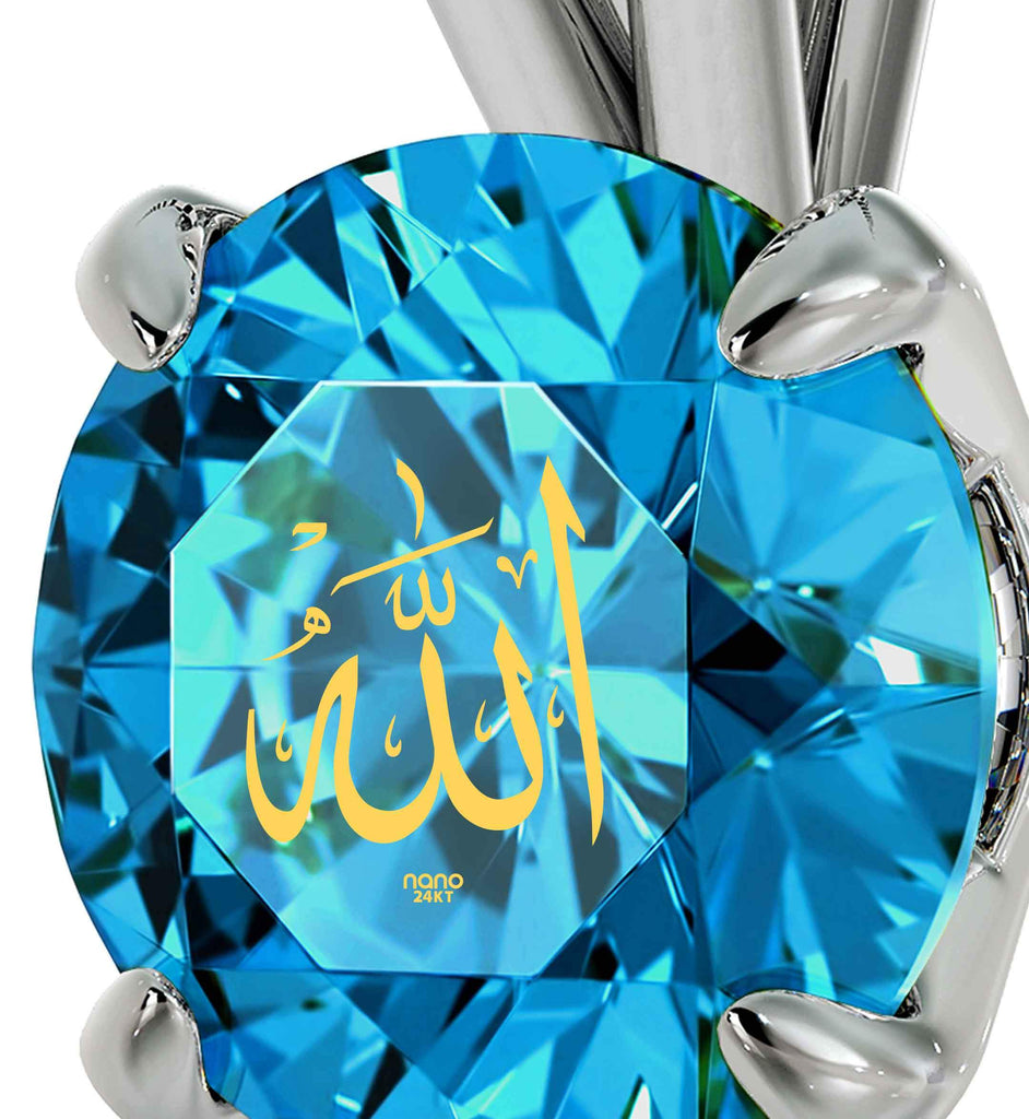 "Arabian Pendant: ""Allah"" Inscribed in Pure Gold - Solitaire Swarovski - 925 Sterling Silver - Nano Jewelry"