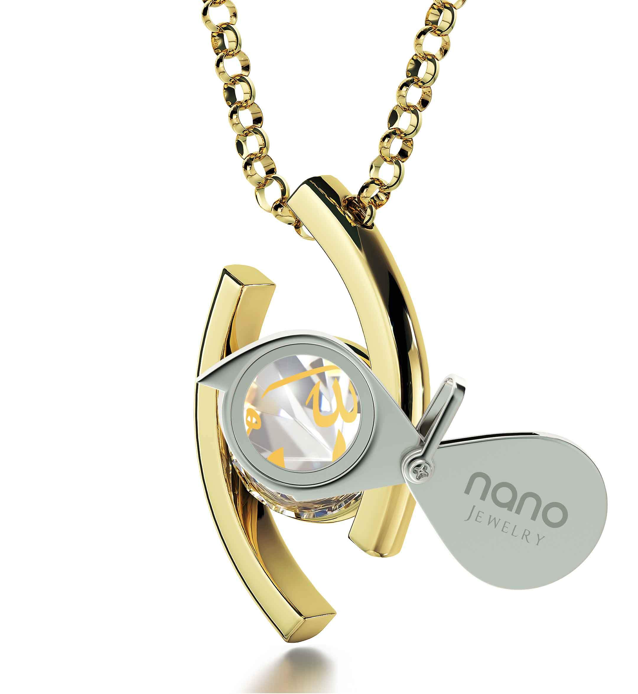 "Allah Necklace for Women: ""Allah"" imprinted in Pure Gold - Eye Pendant - 925 Silver Gold Plated - Nano Jewelry"