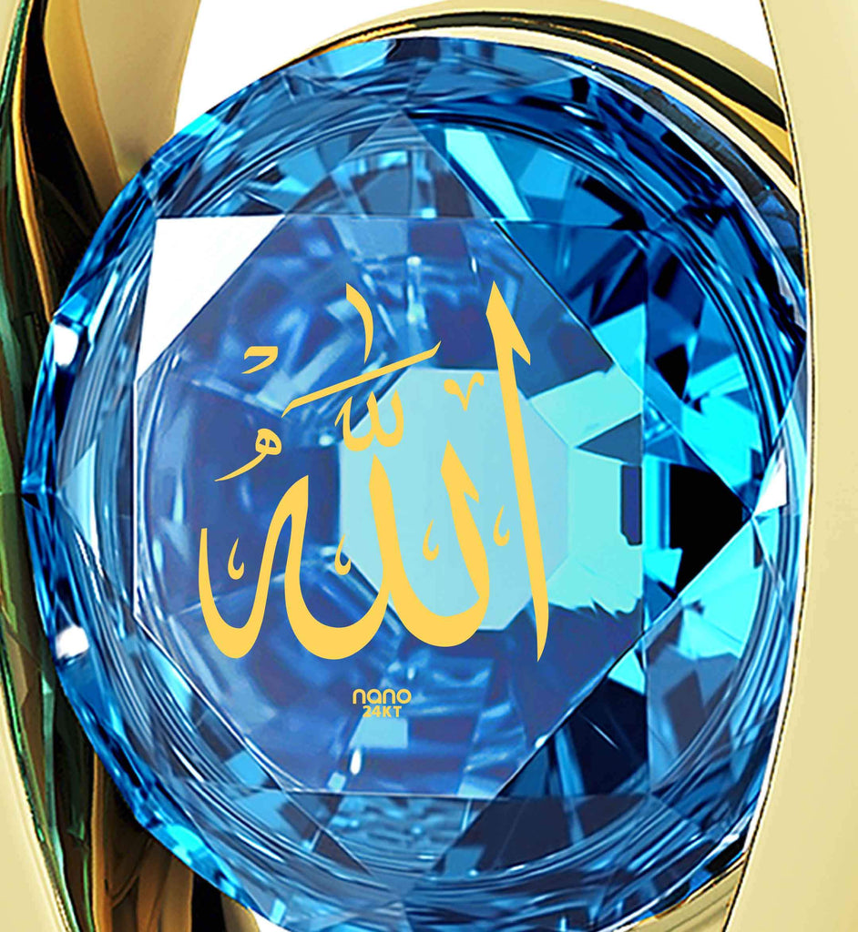"Allah Jewelry: ""Allah"" imprinted in Pure Gold - Eye Pendant - 925 Silver Gold Plated - Nano Jewelry"