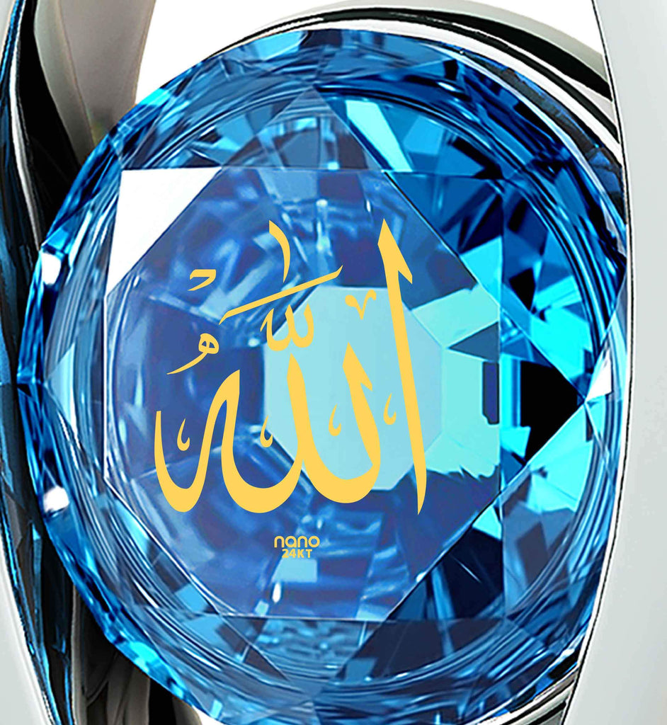 "Arabic Pendant: ""Allah"" Inscribed in Pure Gold - Eye Pendant with Swarovski - 925 Sterling Silver - Nano Jewelry"