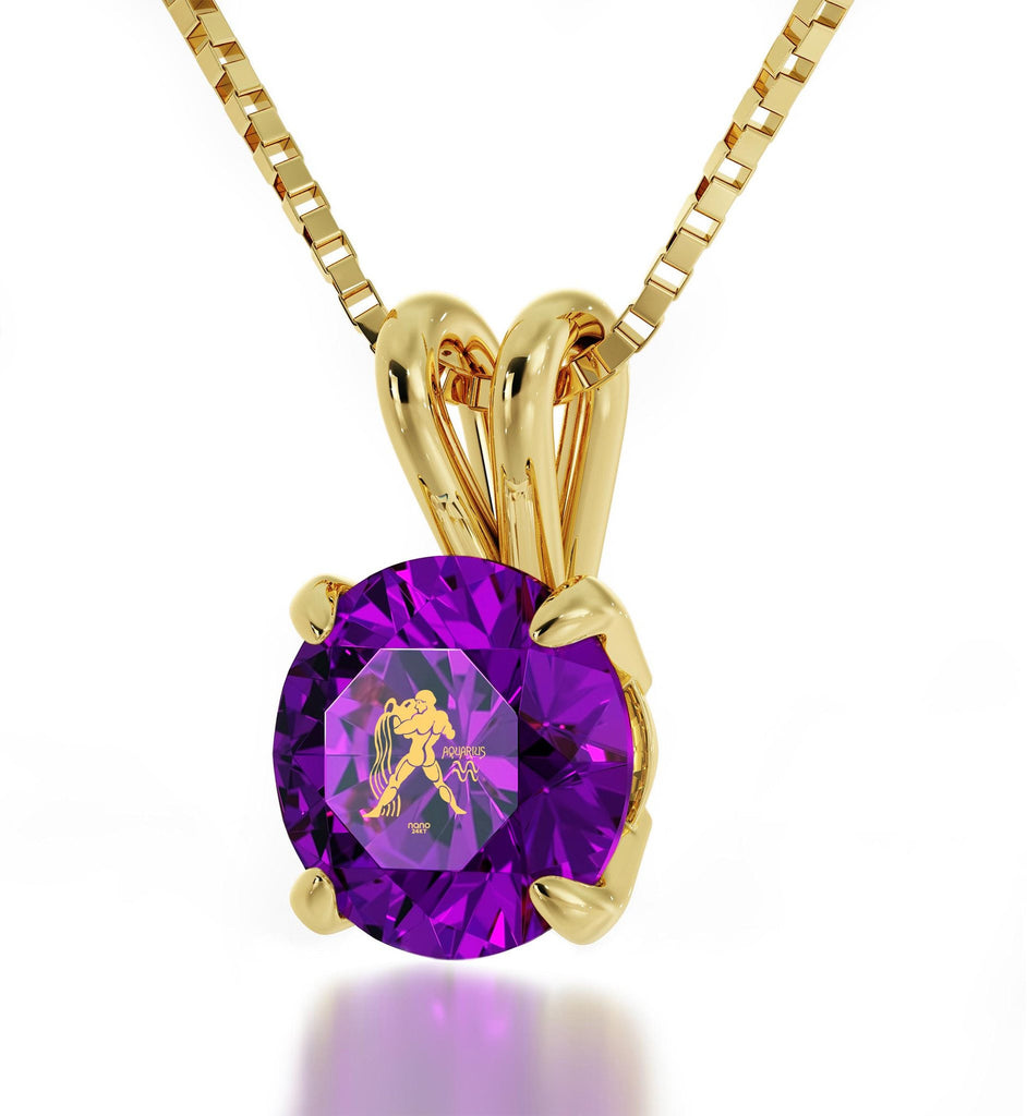 """ Aquarius Jewelry With Zodiac Imprint, Christmas Present Ideas for Best Friend, Cool Gifts for Mom, Purple Pendant """