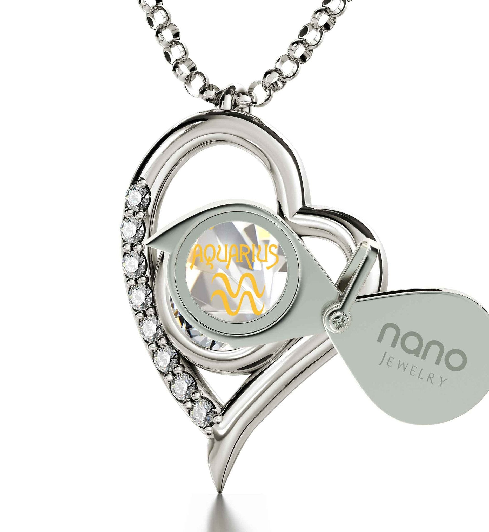 """Aquarius Jewelry With 24k Zodiac Imprint, Engraved Necklaces for Her, Christmas Gifts for Sister, by Nano """