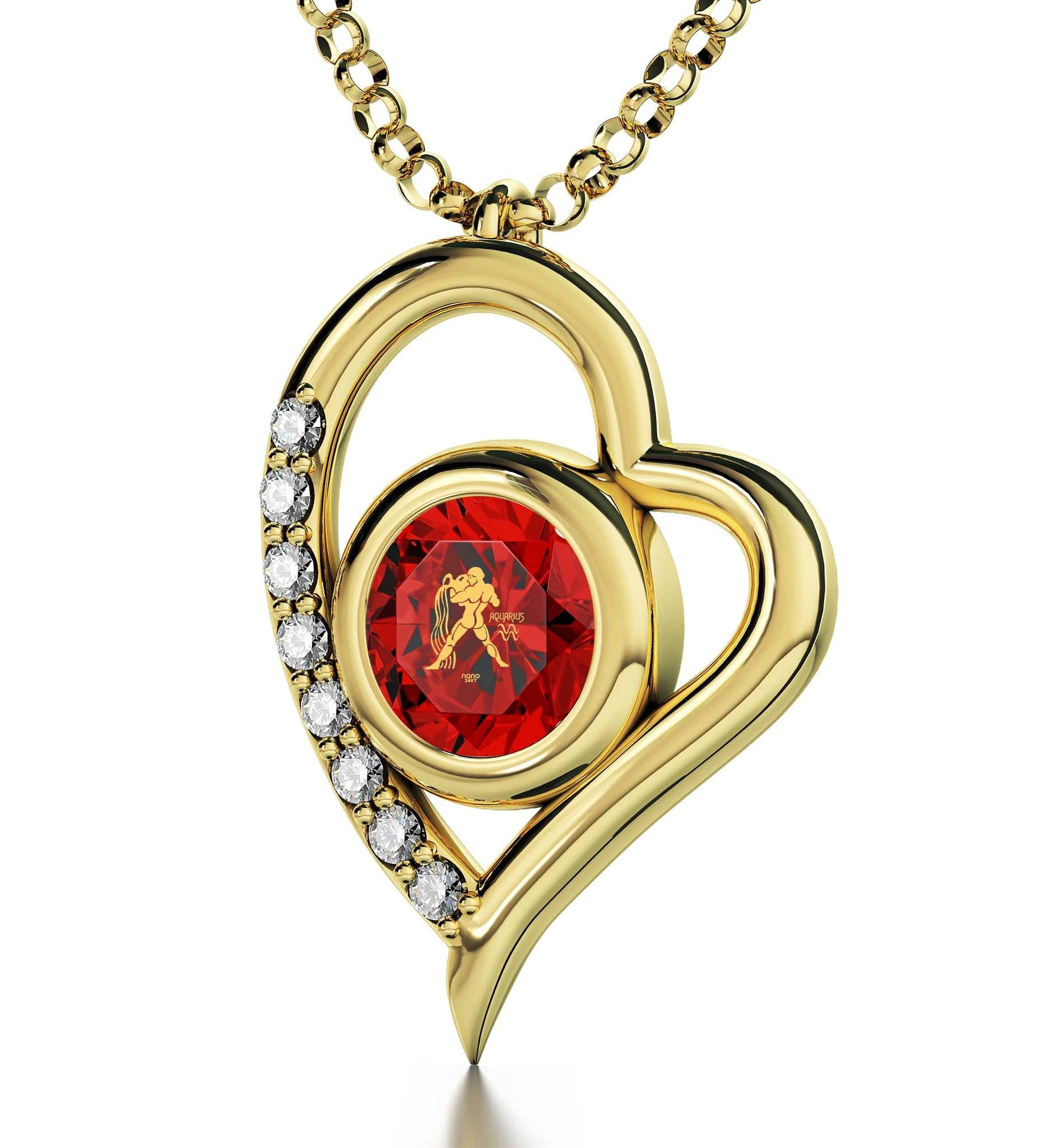 """Aquarius Jewelry With Zodiac Imprint, Christmas Gifts for Best Friend Female, Birthday Presents for Mum, Red Pendant Necklace"""
