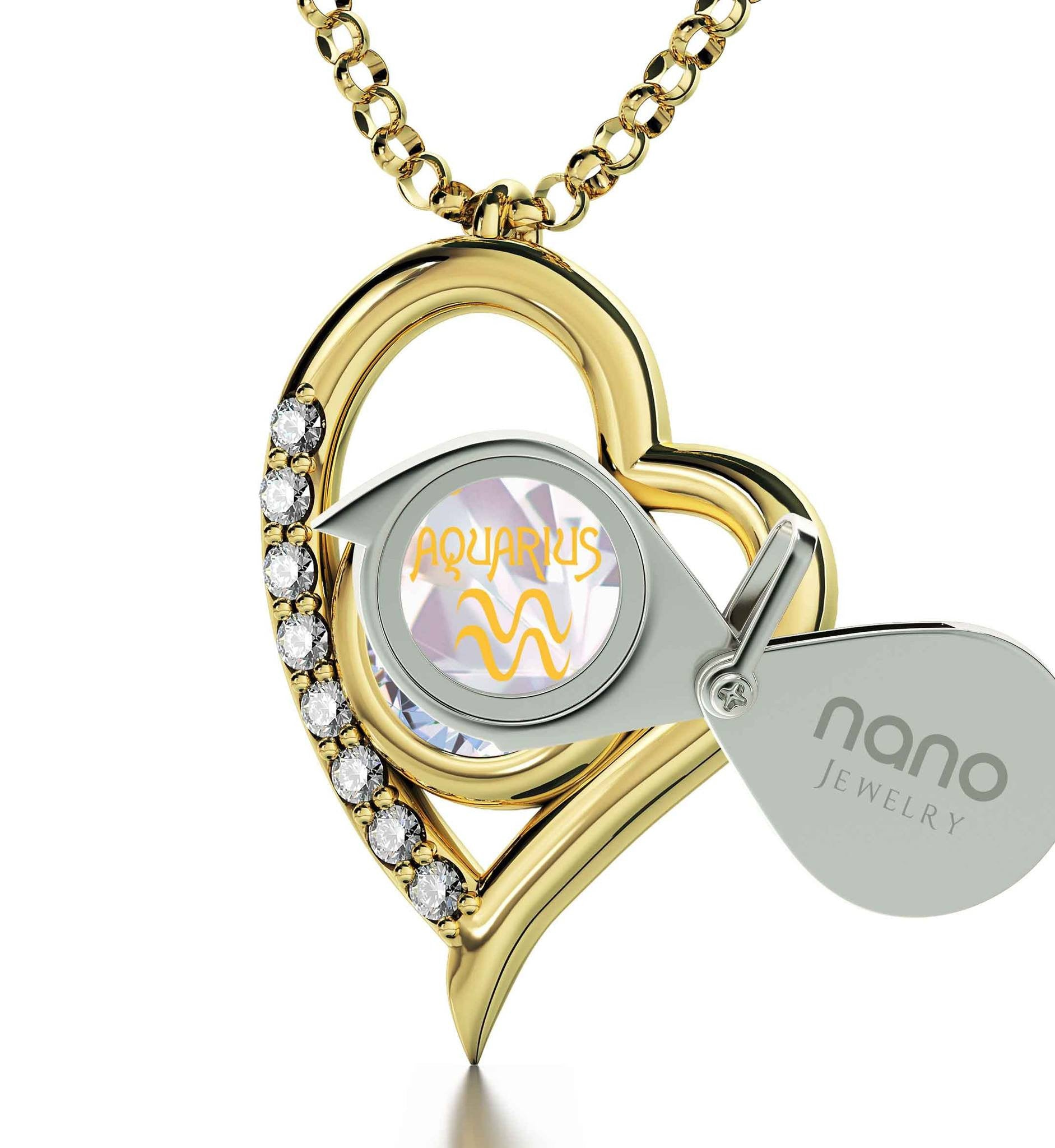 """Aquarius Jewelry With Zodiac Imprint, Top Womens Gifts, What to Get Your Best Friend for Her Birthday, Swarovski Necklace """