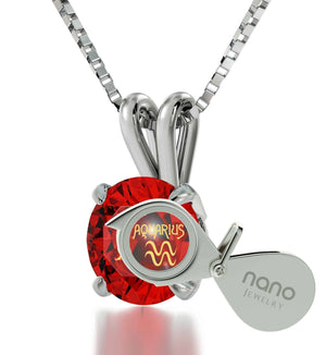 """Aquarius Necklace With 24k Imprint, Best Valentine Gift for Wife, Christmas Presents for Her, Ruby Jewelry """