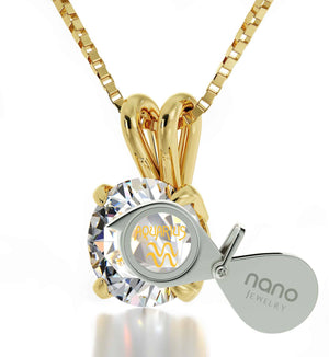 """Aquarius Necklace With 24k Imprint, Mother's Day Gifts for Wife, Amazing Christmas Presents, by Nano Jewelry """