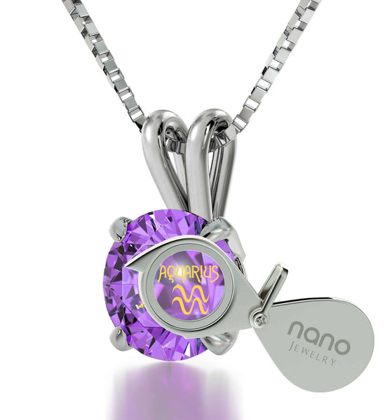"""Aquarius Necklace With 24k Imprint,  Mother's Day Gifts for Wife, Amazing Christmas Presents, Purple Jewelry """