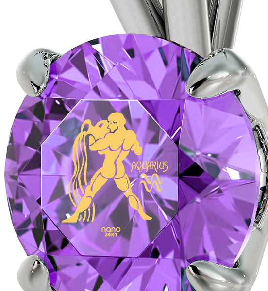 """Aquarius Necklace With 24k Imprint, Top Gift Idea for  Women, Good Christmas Presents for Best Friends, Purple Jewelry """