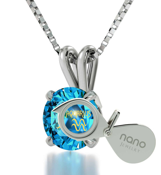 """Aquarius Necklace With 24k Imprint, Top Gifts for Wife, 25th Birthday Ideas for Her, Blue Topaz Jewelry """