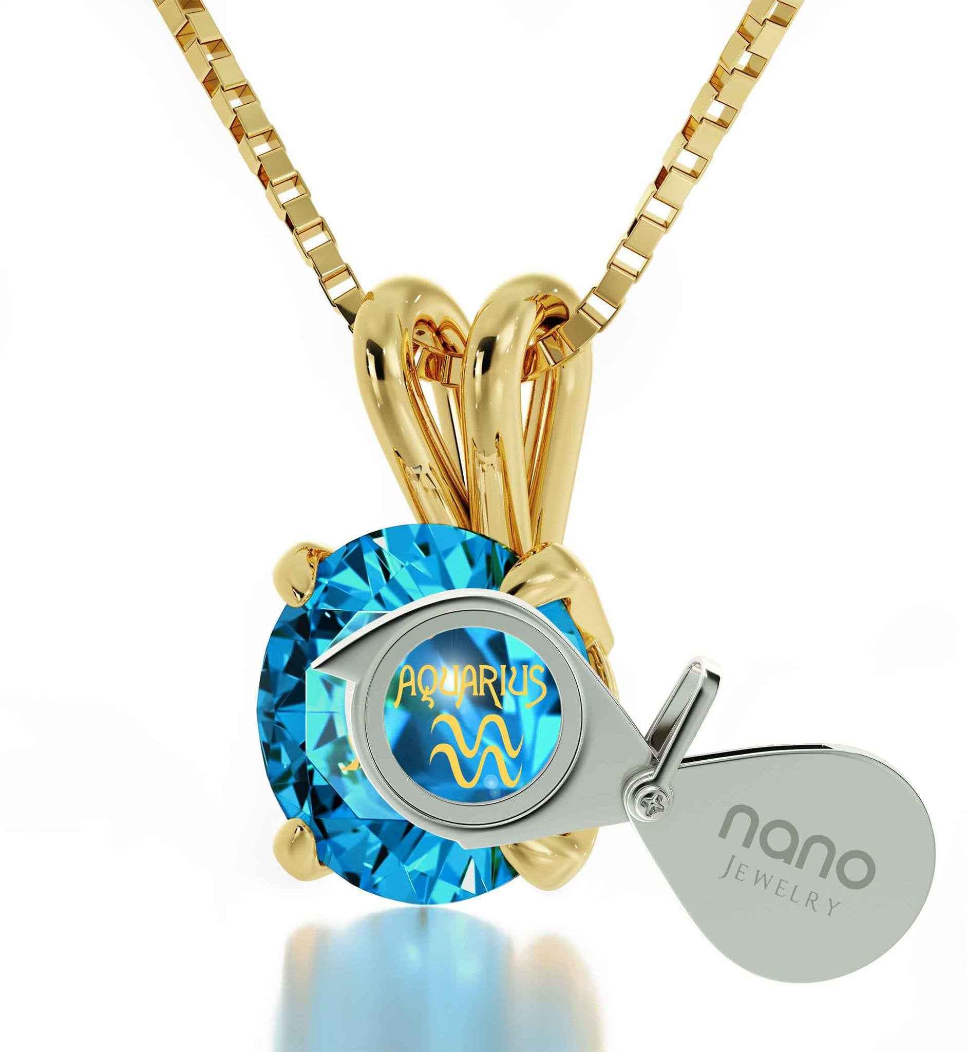 """Aquarius Necklace With 24k Imprint, Top Gifts for  Wife, 25th Birthday Ideas for Her ,Blue Topaz Jewelry """