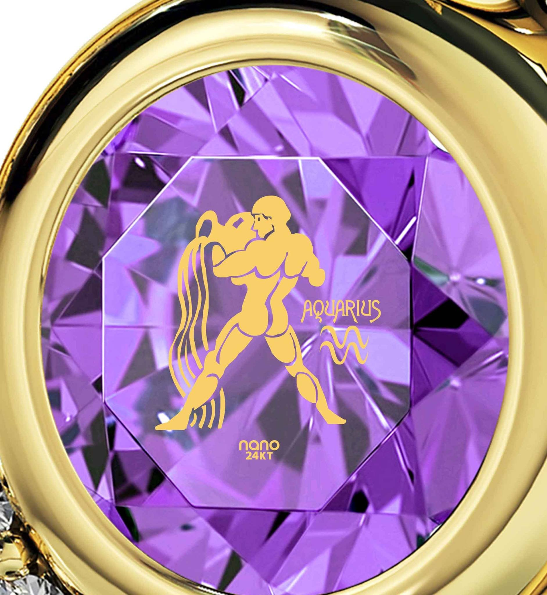 """Aquarius Jewelry With Zodiac Imprint, Top Womens Gifts, What to Get Your Best Friend for Her Birthday, Purple Pendant """