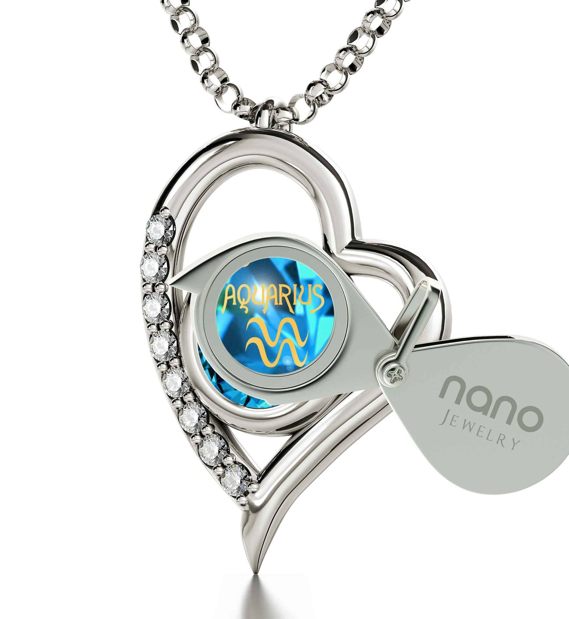 """Aquarius Necklace With 24k Zodiac Imprint, Great Valentines Gifts for Her, Good Presents for Girlfriend, Blue Stone Jewellery """