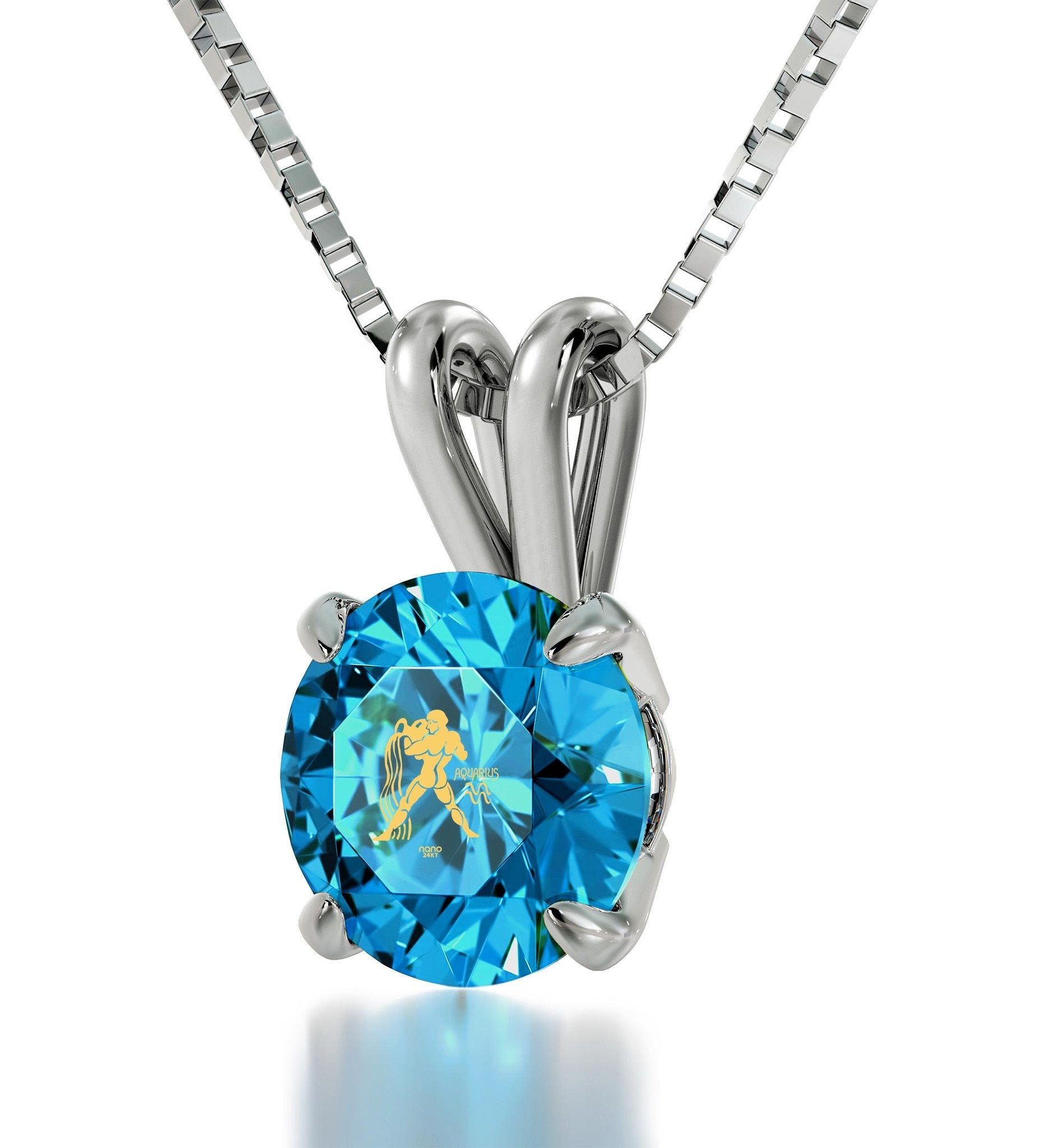 """Aquarius Pendant With Zodiac Imprint, Cute Necklaces for Her, Gifts for Best Friend Woman, Blue Topaz Jewelry """