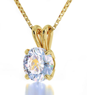 """Aquarius Necklace With 24k Imprint, Best Valentine Gift for Wife, Christmas Presents for Her, Swarovski Crystal Jewelry """
