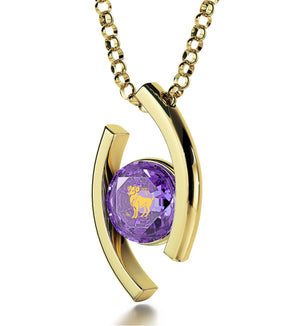 """Aries Pendant With Zodiac Imprint, Best Valentine Gift for Wife, Birthday Present Ideas for Her, Purple Pendant"""