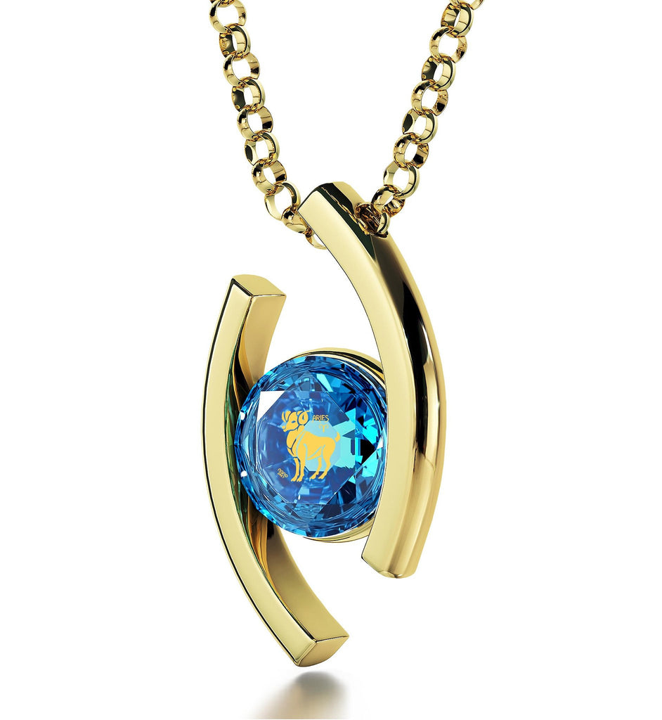 """Aries Jewelry With 24k Zodiac Imprint, Cool Presents for Christmas, Unusual Gifts for Mum, Blue Stone Necklace"""