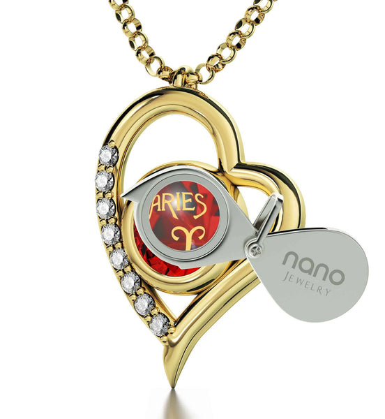 """Pendant With Zodiac Imprint, Christmas Presents for Your Best Friend, Birthday Ideas for Girlfriend, Ruby Necklace """