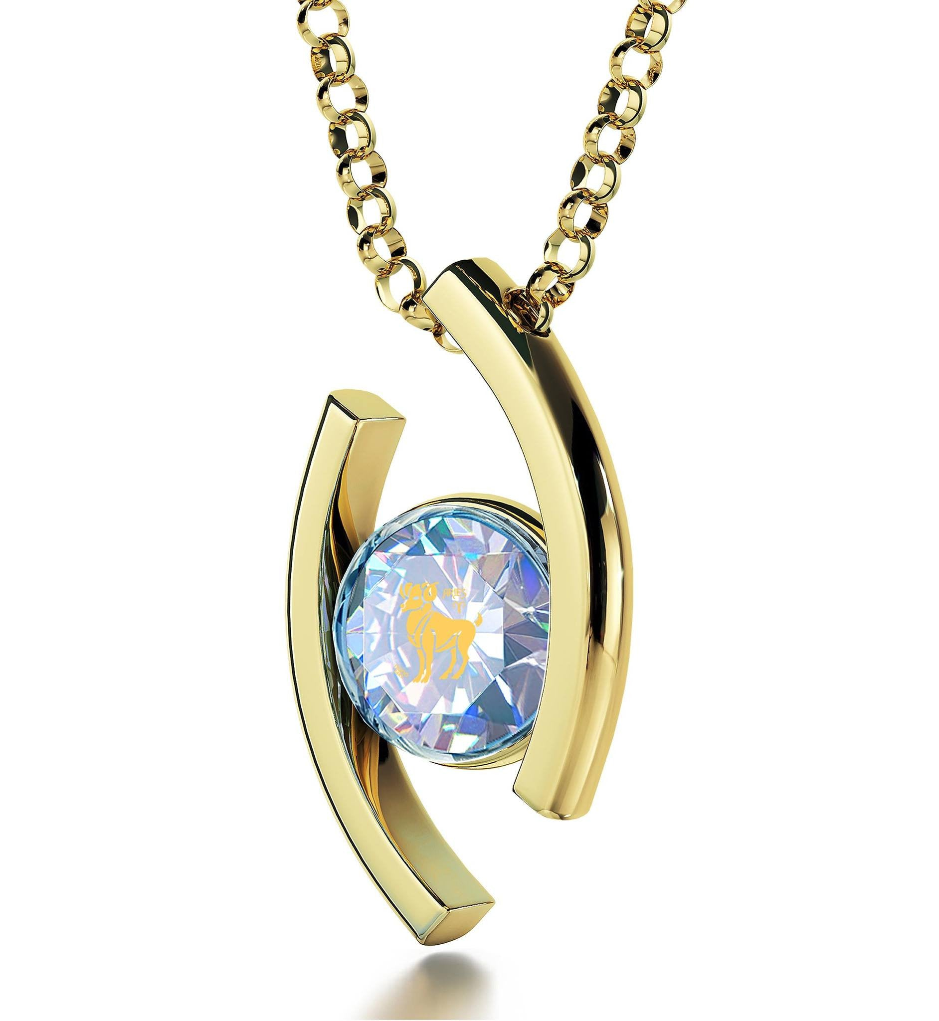 """Aries Pendant With 24k Imprint, Valentine's Day Gifts for Wife, Presents for Sisters, by Nano Jewelry"""