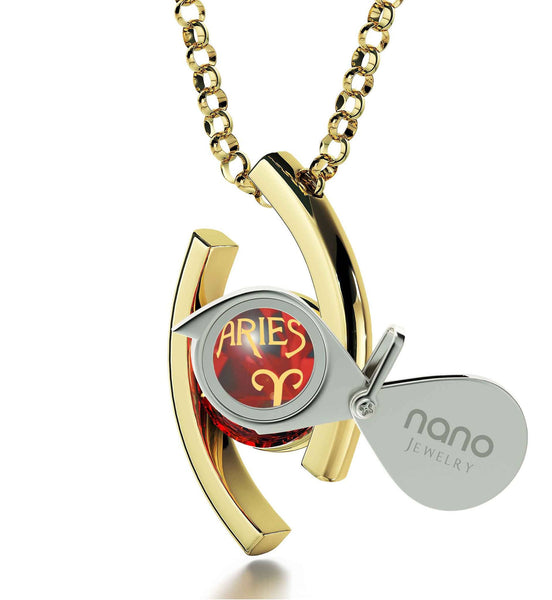 """Aries Pendant With Zodiac Imprint, Christmas Ideas for Mum, 7th Anniversary Gift for Her, by Nano Jewelry"""
