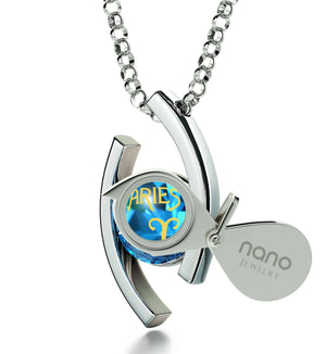"""Aries Pendant With 24k Imprint, Xmas Gifts for The Wife, Valentines Ideas for Wife, Blue Topaz Jewelry"""
