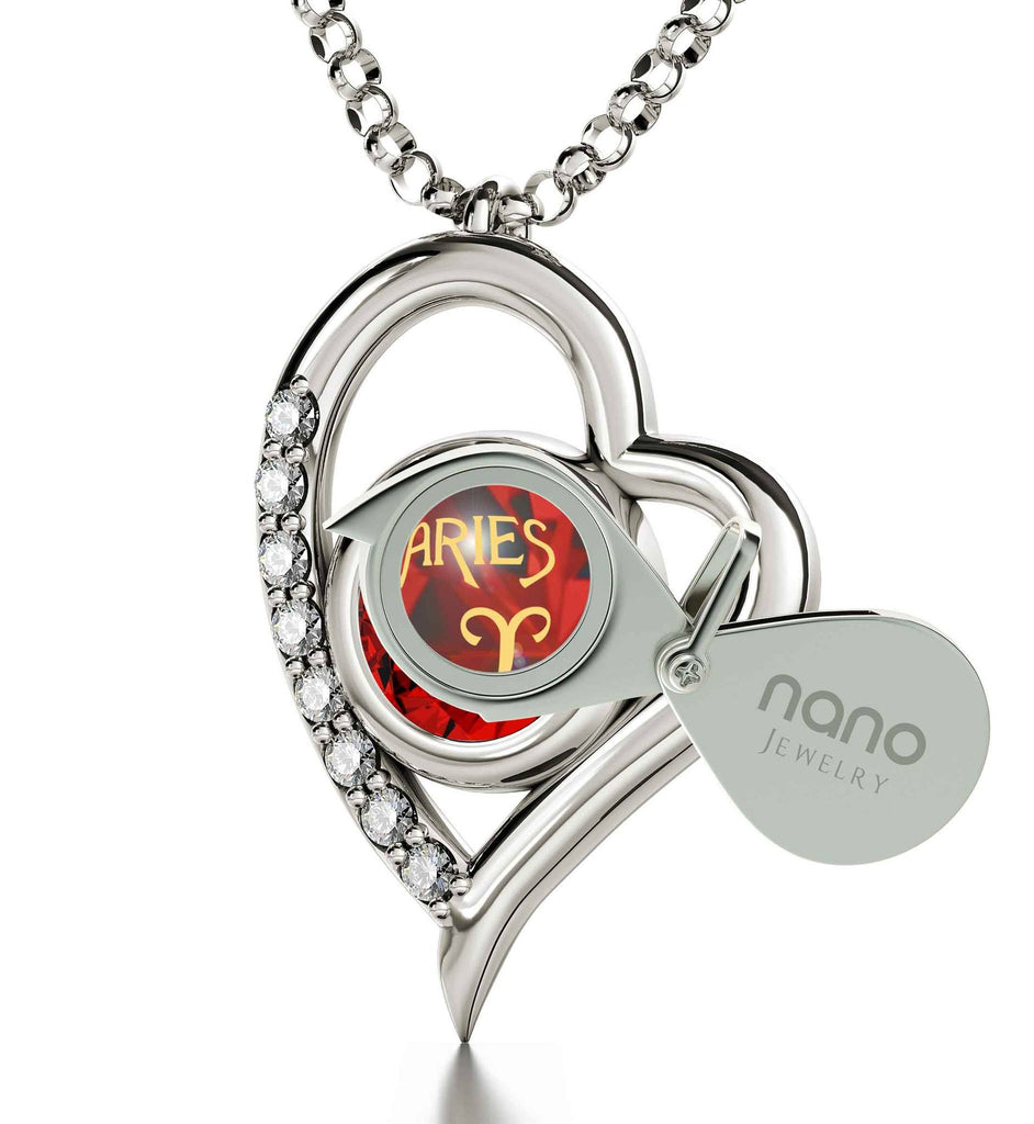 """Aries Zodiac Sign Imprint, Good Valentine Gifts for Girlfriend, Awesome Christmas Presents, Red Pendant Necklace """