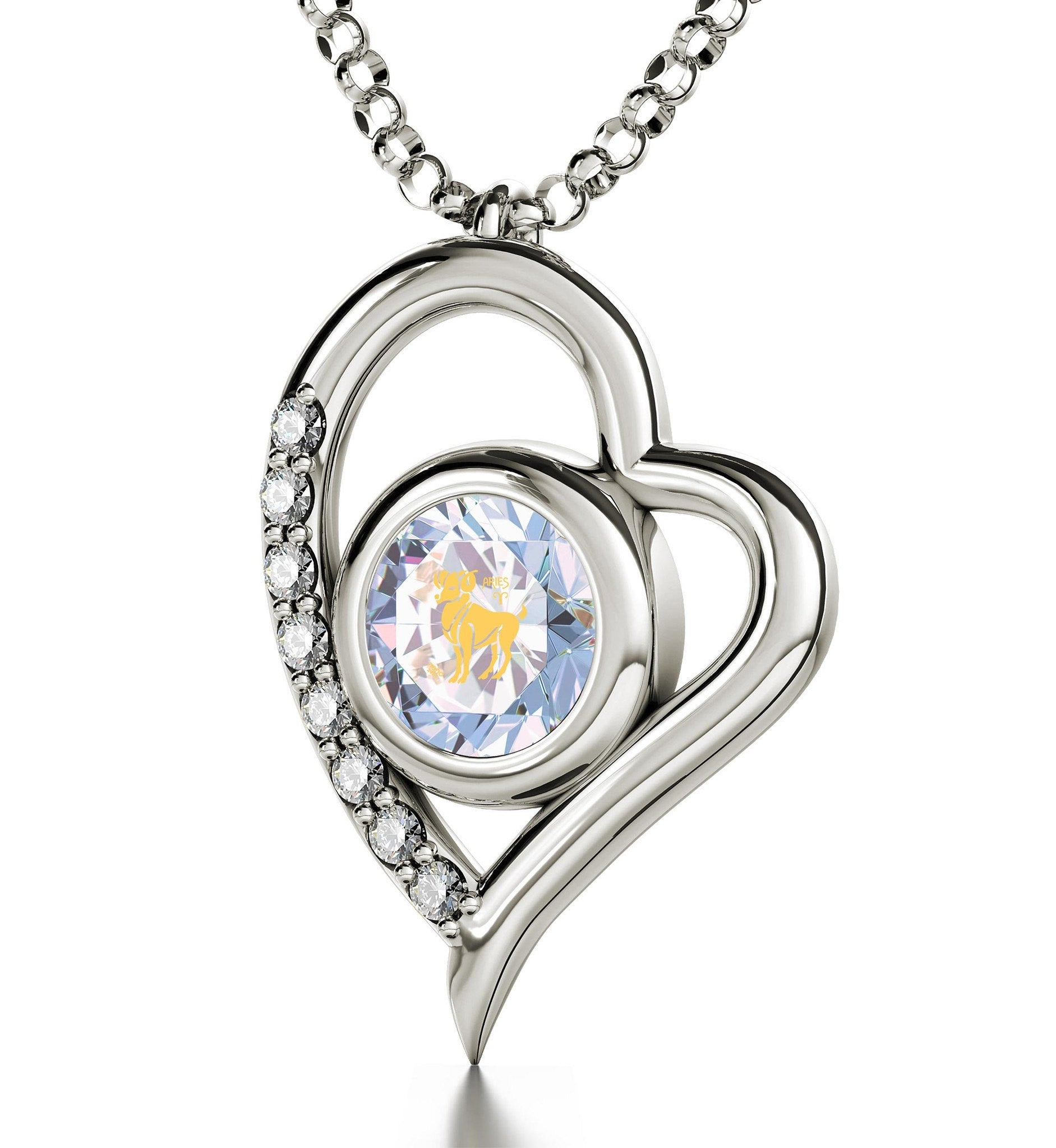 """Zodiac Pendant With 24k Inscription, Womens Gold Chains, Birthstone Necklaces for Mothers , Swarovski Crystal Jewelry """