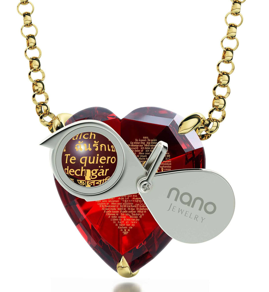 "Good Anniversary Gifts for Her, ""I Love You"" in 120 Languages, Nano Jewelry"