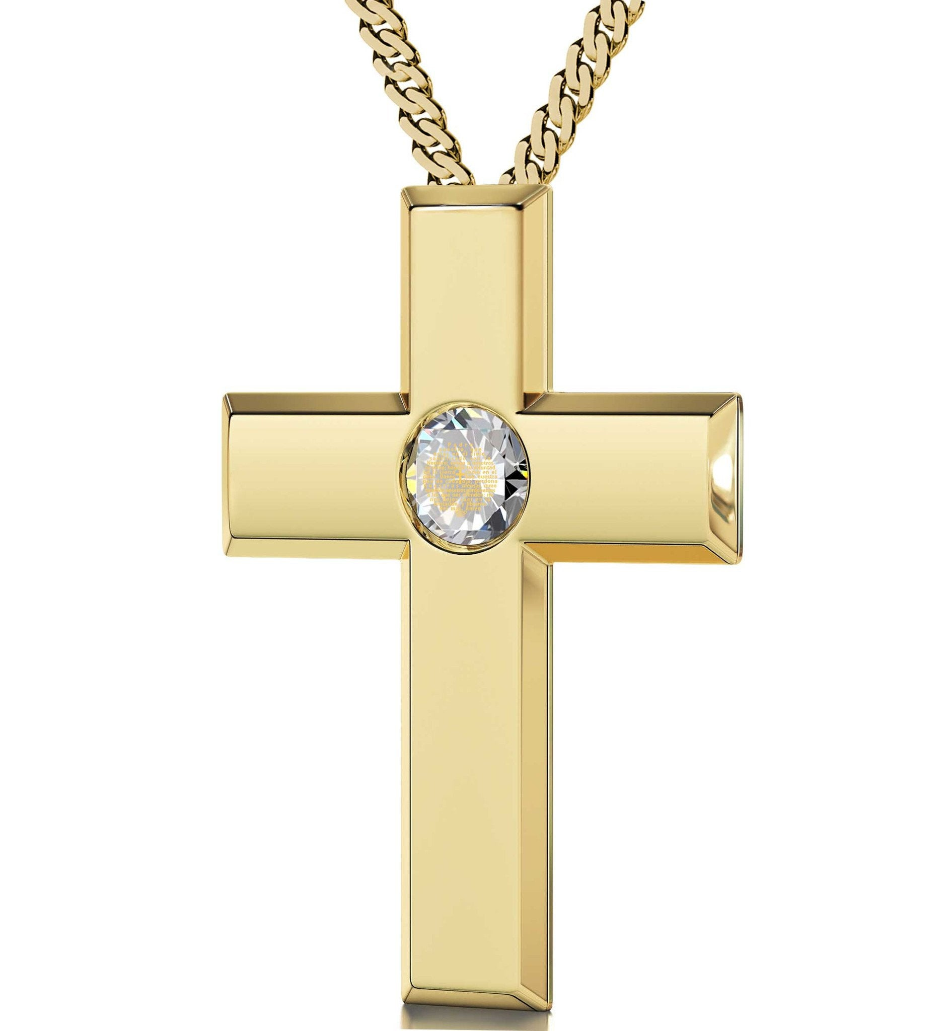 Womens cross pendant spanish lords prayer order now at nano jewelry gold filled cross jewelry with our father prayer womens gifts for christmascute mozeypictures Image collections
